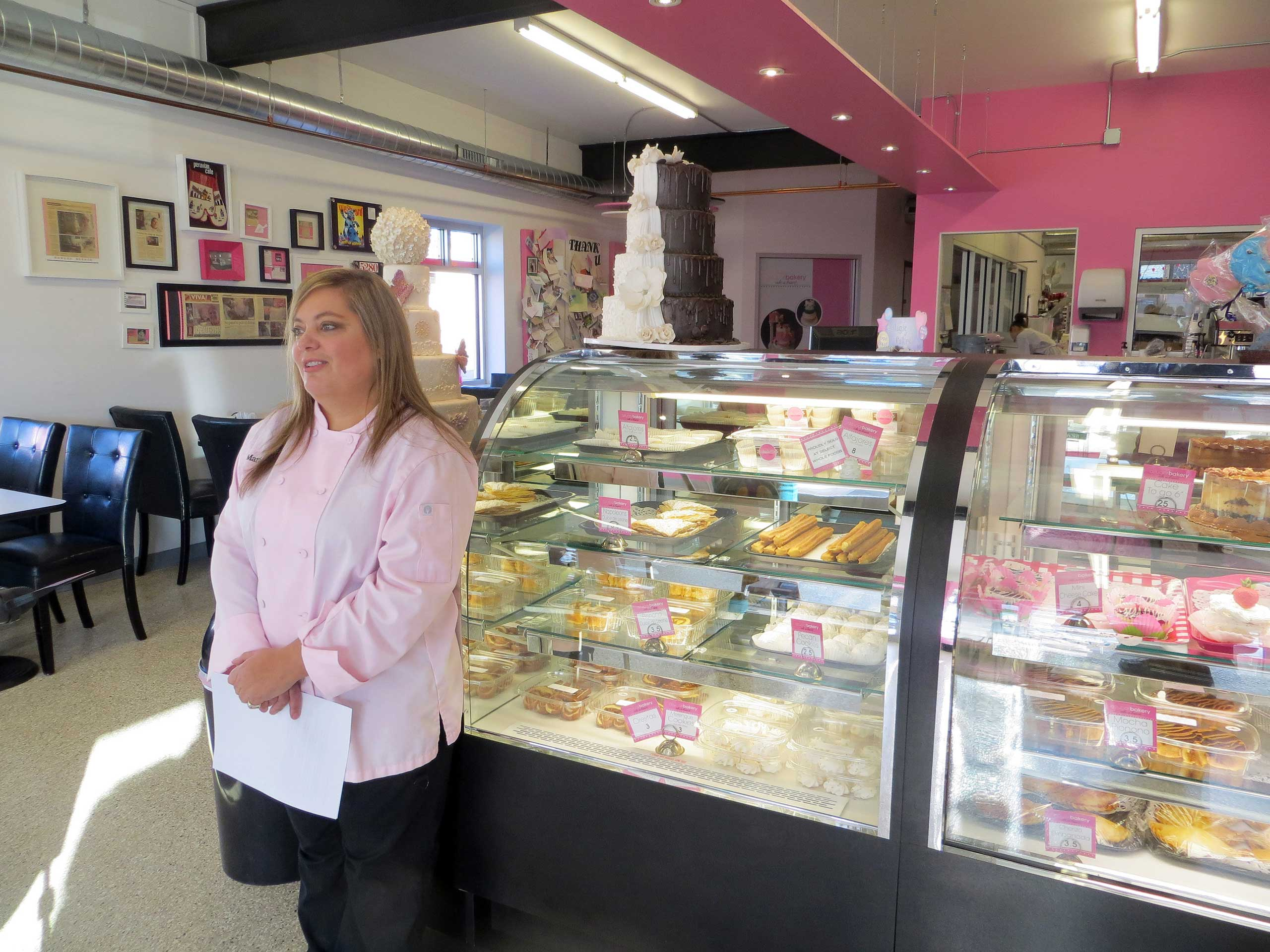 Bakery owner Marjorie Silva, who refused to write hateful words about gays on a cake for a customer, stands inside her own Azucar Bakery, in Denver, on Jan. 20, 2015.