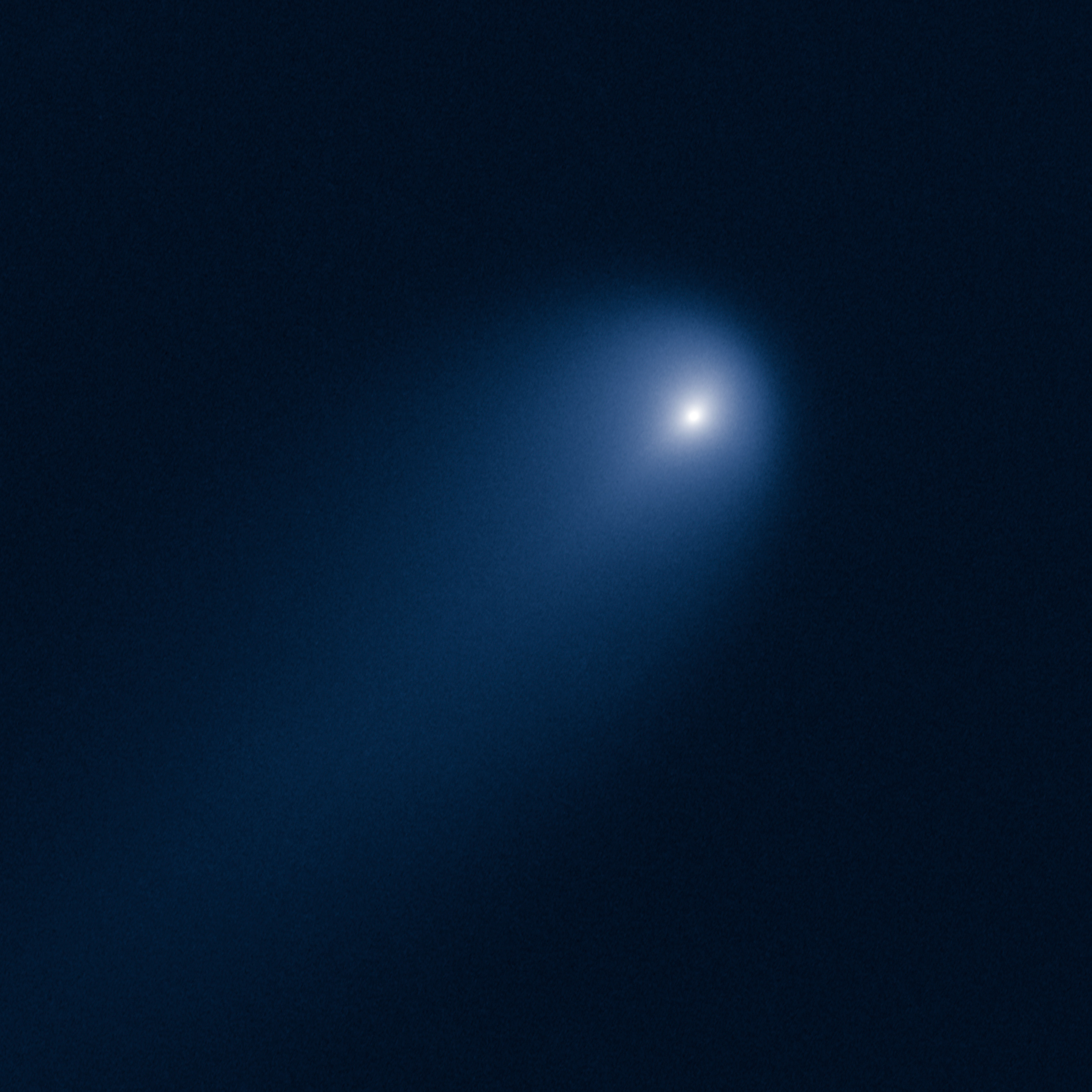 Comet Ison:                               Hubble captured this image of Comet C/2012 S1 (ISON) on April 10, when the comet was at a distance of 386 million miles from the Sun (and 394 million miles from Earth). Preliminary measurements from the Hubble images suggest that the nucleus of ISON is no larger than three or four miles across.  The comet's dusty coma, or head of the comet, is approximately 3,100 miles across, or 1.2 times the width of Australia. A dust tail extends more than 57,000 miles, far beyond Hubble's field of view.                               Image released on April 23, 2013.