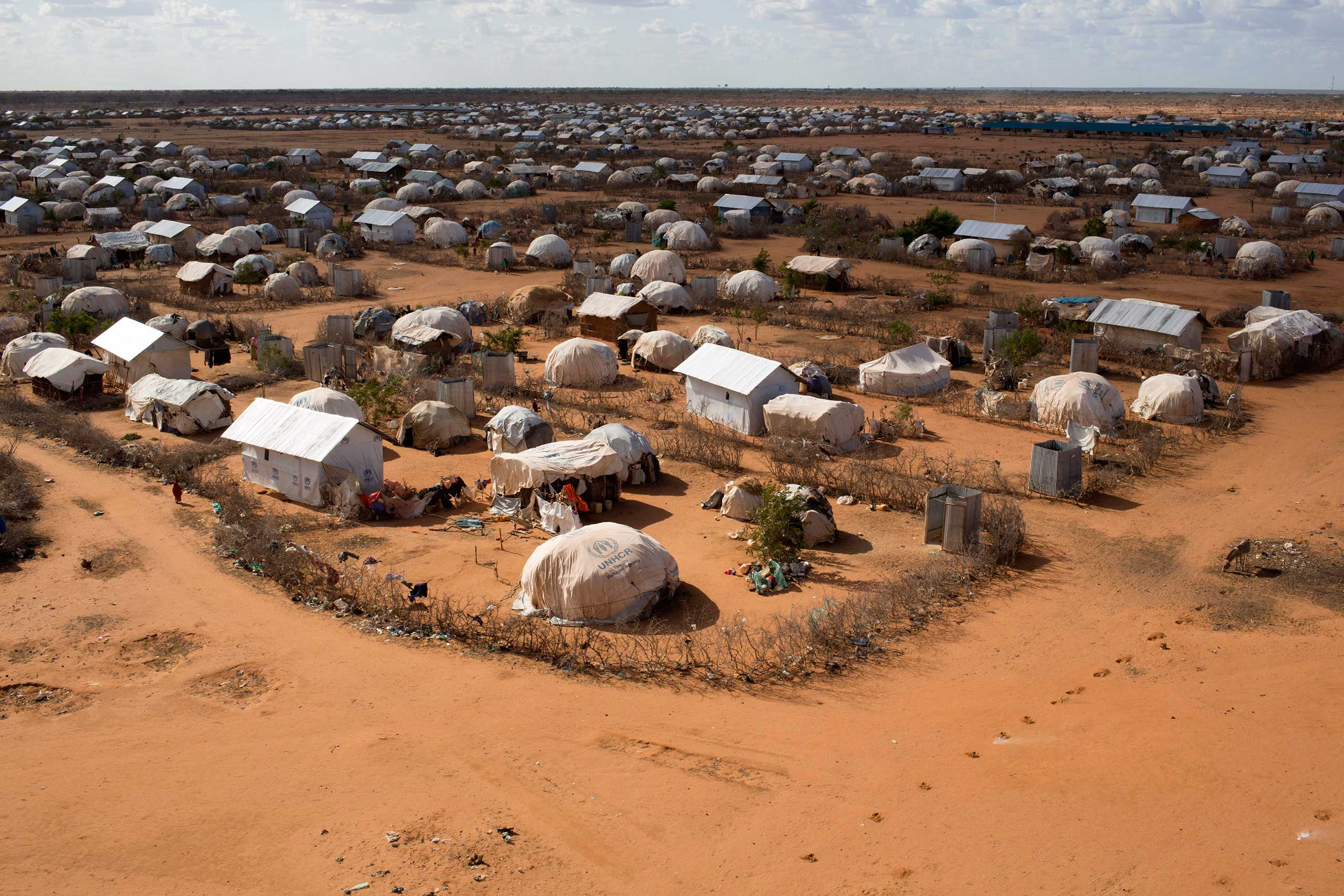 An aerial view shows an extension of the Ifo camp, one of the several refugee settlements in Dadaab, Garissa County, northeastern Kenya in 2013.