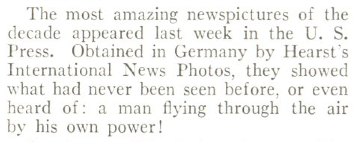From TIME's April 23, 1934, debunking of the lung-powered flight hoax