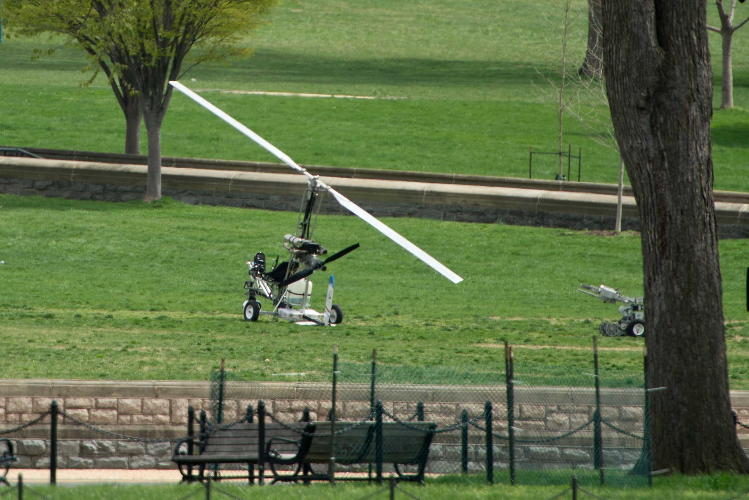 A man was arrested after landing a  gyrocopter on the West Lawn of the U.S. Capitol on April 15, 2015.