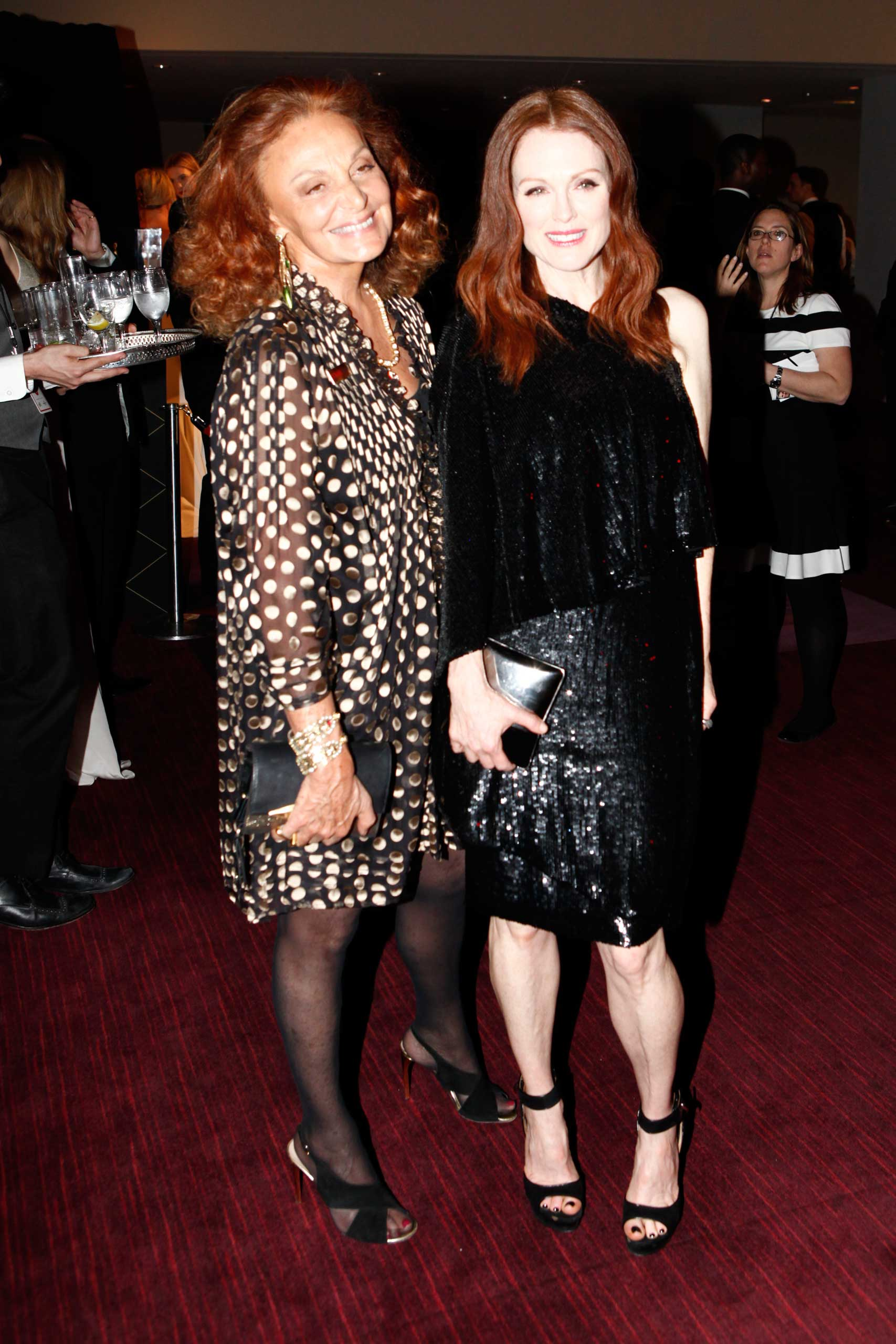 Diane von Furstenberg and Julianne Moore attend the TIME 100 Gala at Jazz at Lincoln Center in New York City on April 21, 2015.