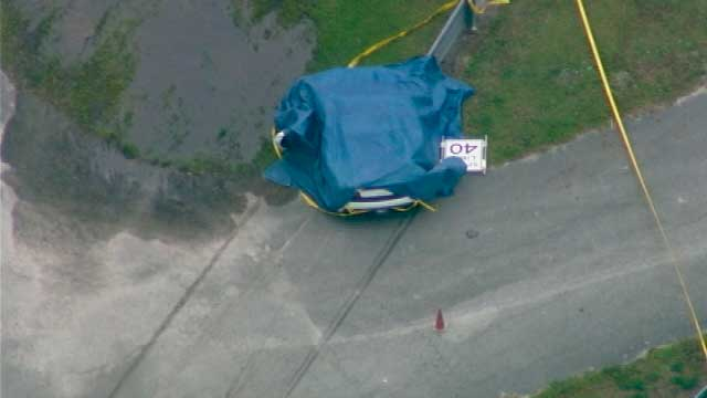 This aerial image taken from a video provided by WFTV shows the scene after a deadly crash at the Exotic Driving Experience at Walt Disney World in Orlando, Fla. on April 12, 2015.