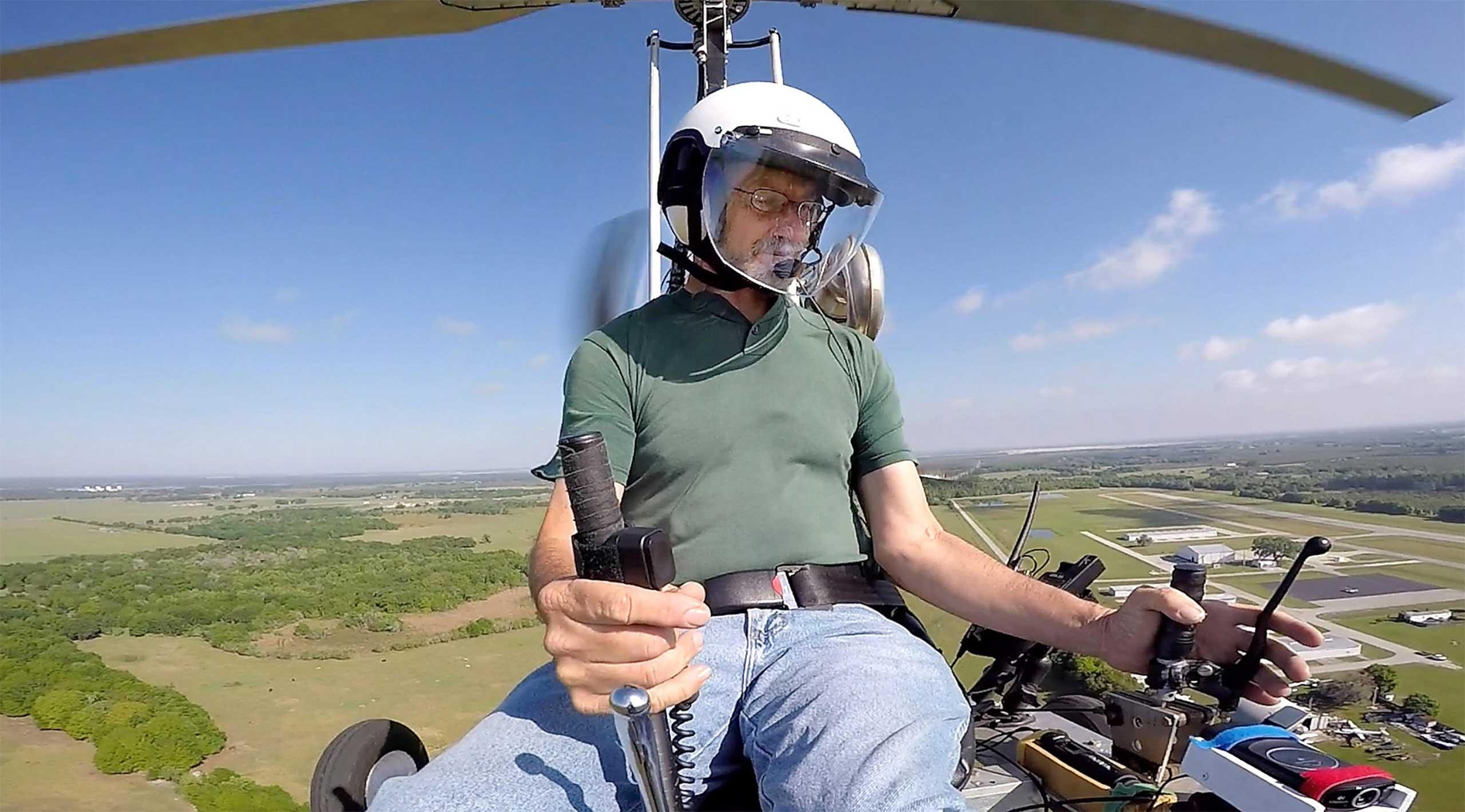 Doug Hughes flies his gyrocopter, near the Wauchula Municipal Airport in Wauchula, Fla., March 17, 2015.