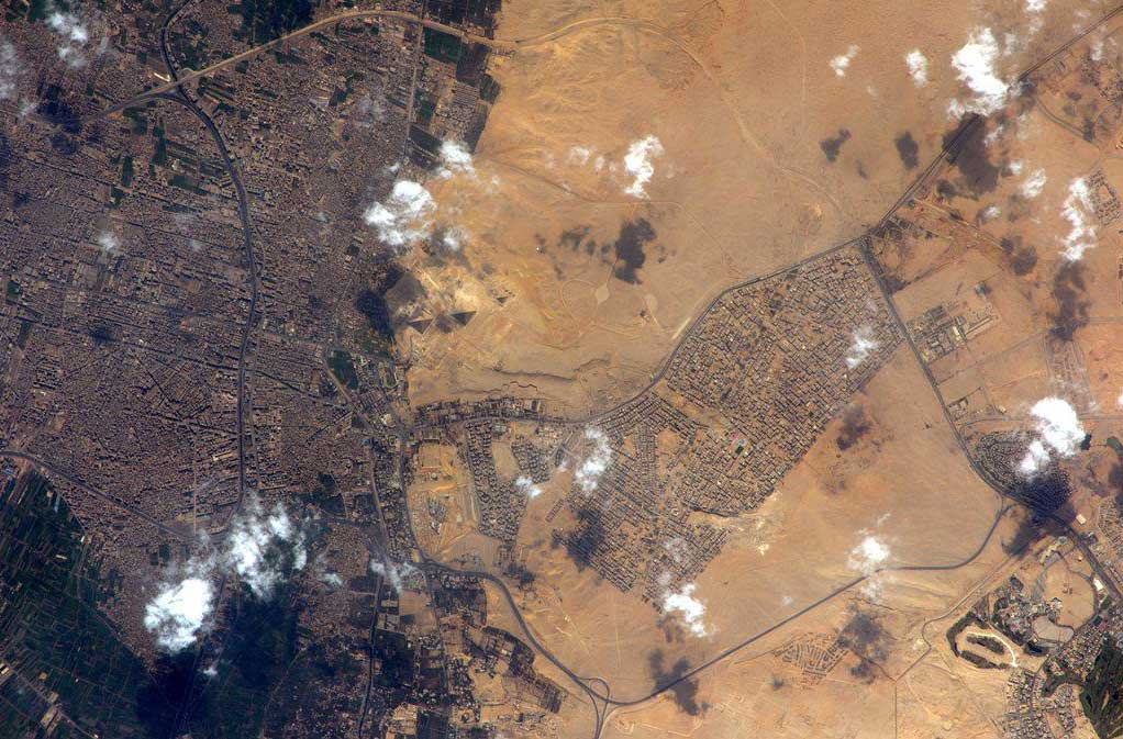 The pyramids of Giza in Egypt, (center left) seen from space.
