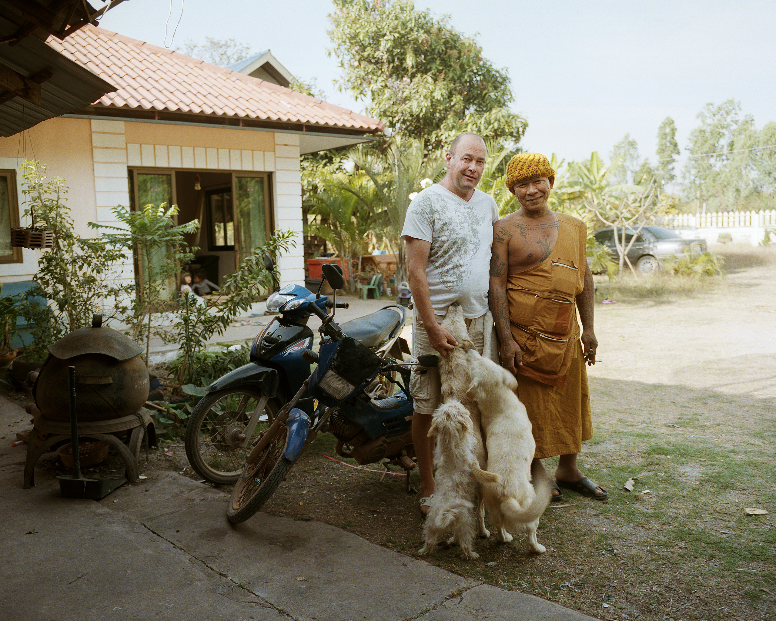 One of the village monks visits Peter and Chittata, Kaeng Khro, 2012.