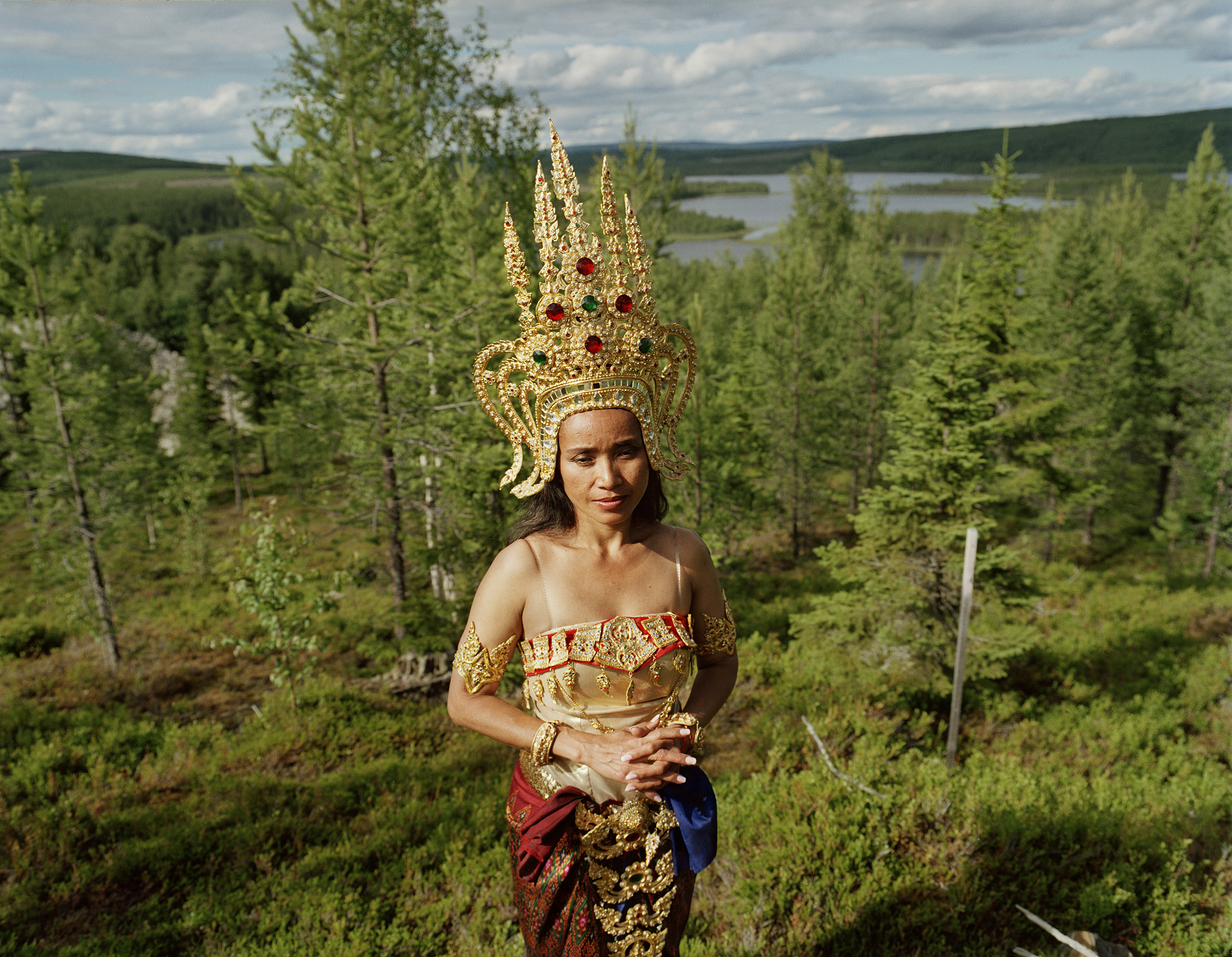 Thitaree, Fredrika, 2008. She lives in Kiruna but has come to the temple mount in Fredrika to perfom traditional Thai dance at a Buddhist ceremony.