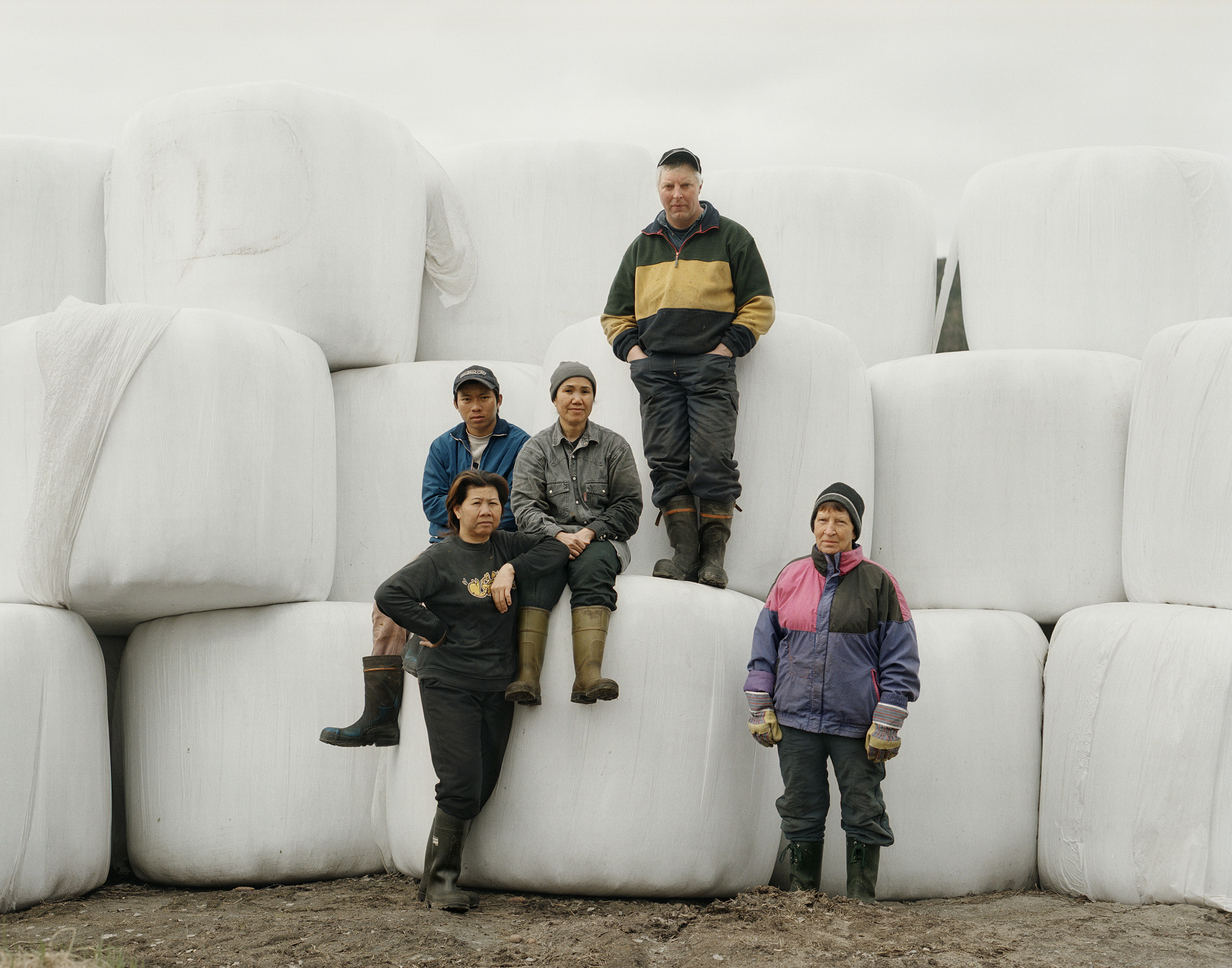 Group photo on silage bales, 2007. In the middle: farmer Mats-Åke and his fiancé, Ampawan; at right, Mats-Åke's mother, and at left, Ampawan's visiting relatives from Thailand, Balsjö.