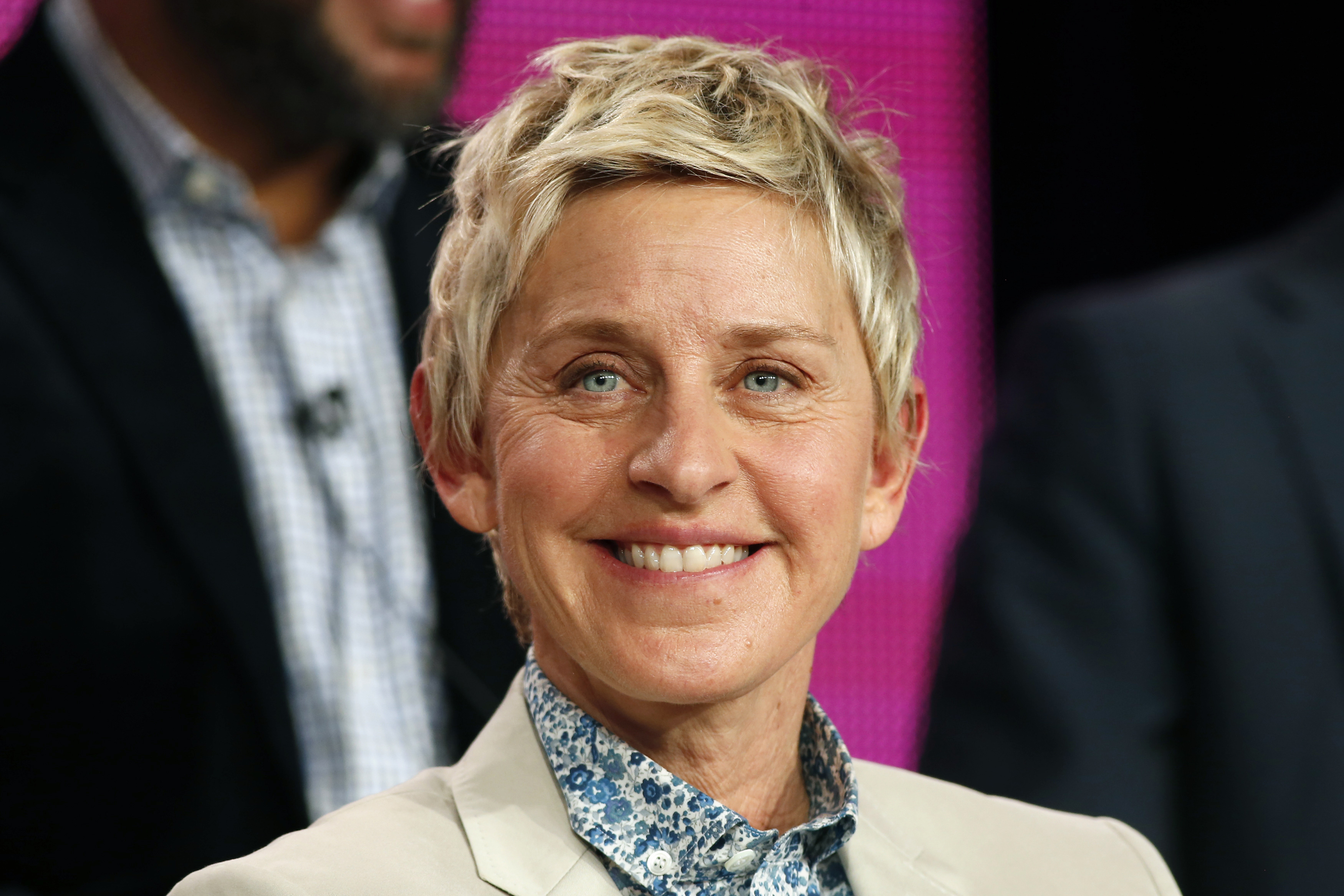 Executive Producer Ellen DeGeneres speaks about the NBC television show  One Big Happy  during the TCA presentations in Pasadena, California, January 16, 2015