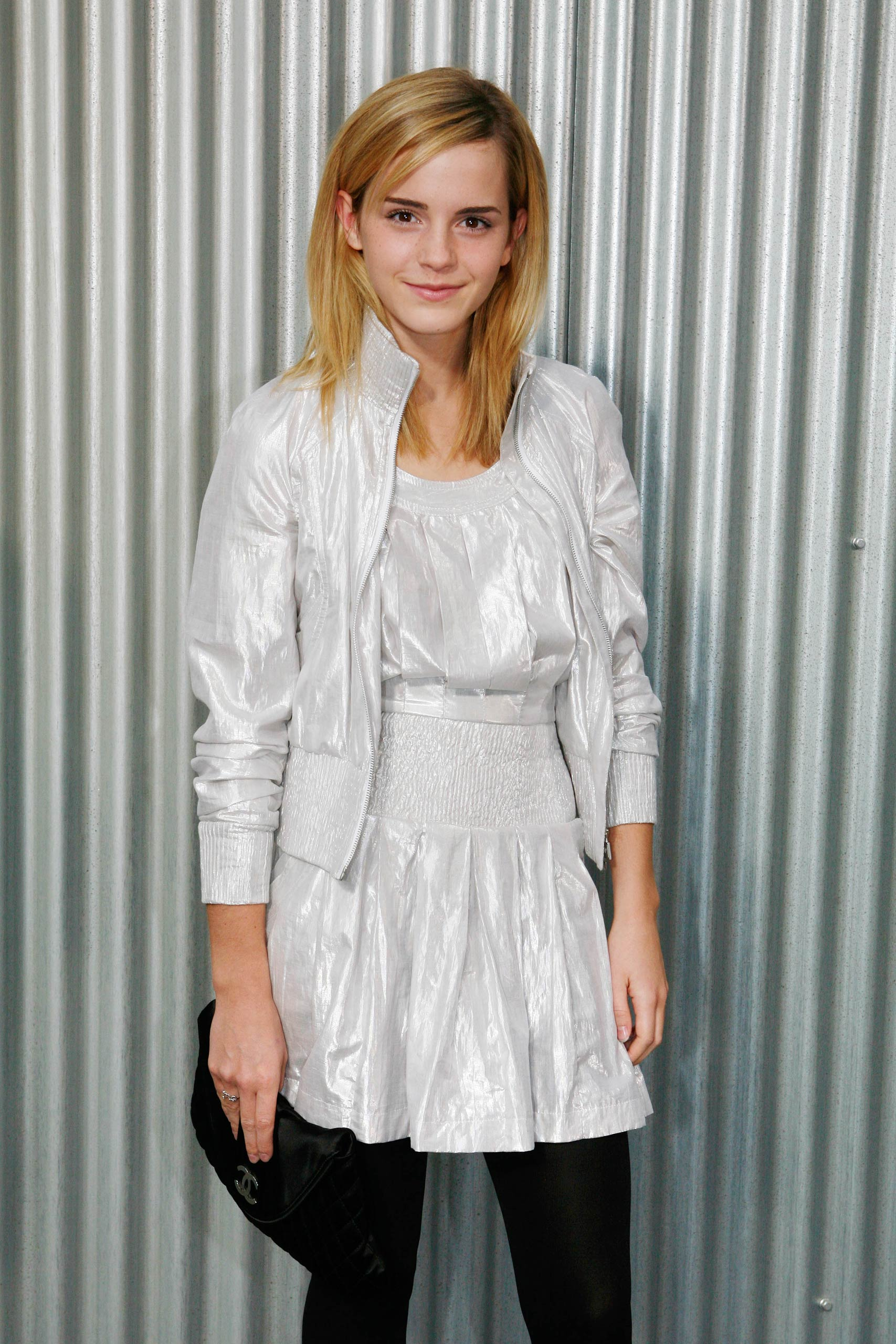 British actress Emma Watson is seen at Chanel's spring-summer 2009 ready-to-wear collection designed by German fashion designer Karl Lagerfeld, in Paris in 2008.