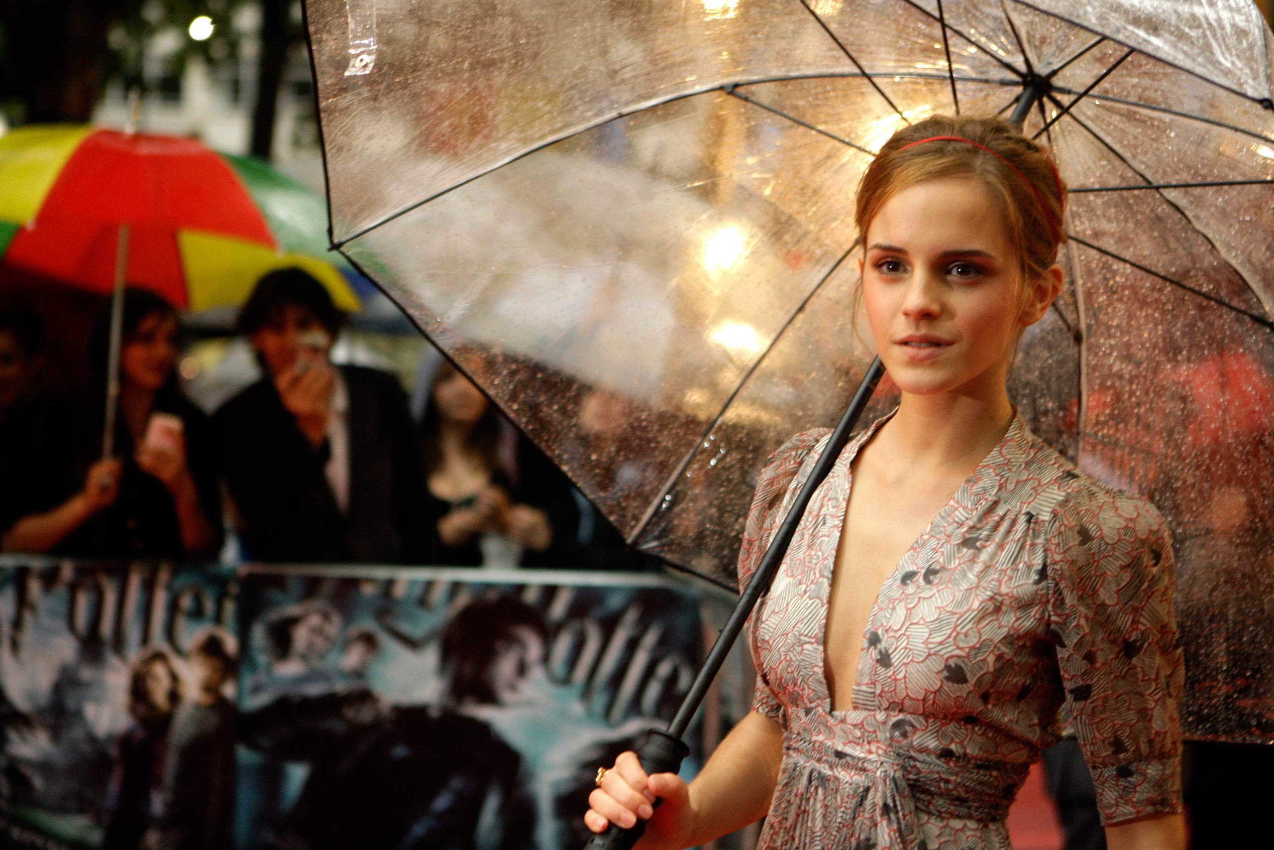 Emma Watson arrives for the World Premiere of <i>Harry Potter and the Half-Blood Prince</i>, at a cinema in Leicester Square, London in 2009.