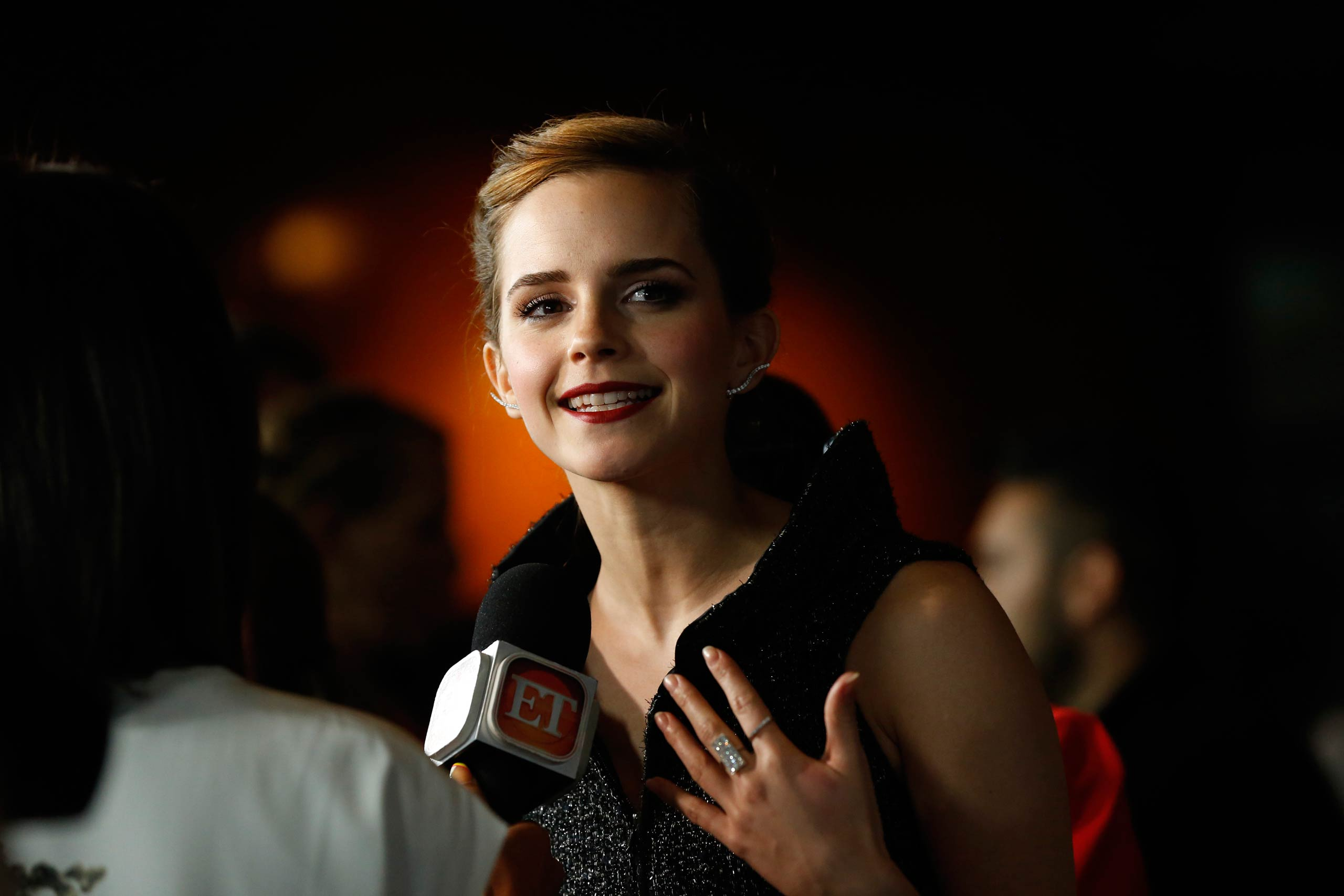 Emma Watson is interviewed at the premiere of <i>The Bling Ring</i> at the Director's Guild of America theater in Los Angeles in 2013.