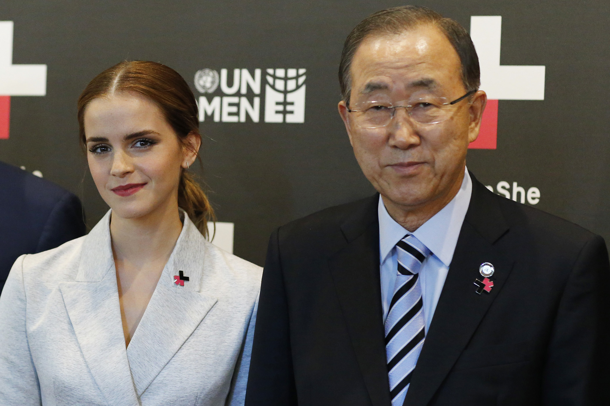 UN Women Goodwill Ambassador Emma Watson and United Nations Secretary General Ban Ki-moon pose for a picture while they attend the HeForShe campaign launch at the United Nations on September 20, 2014 in New York.
