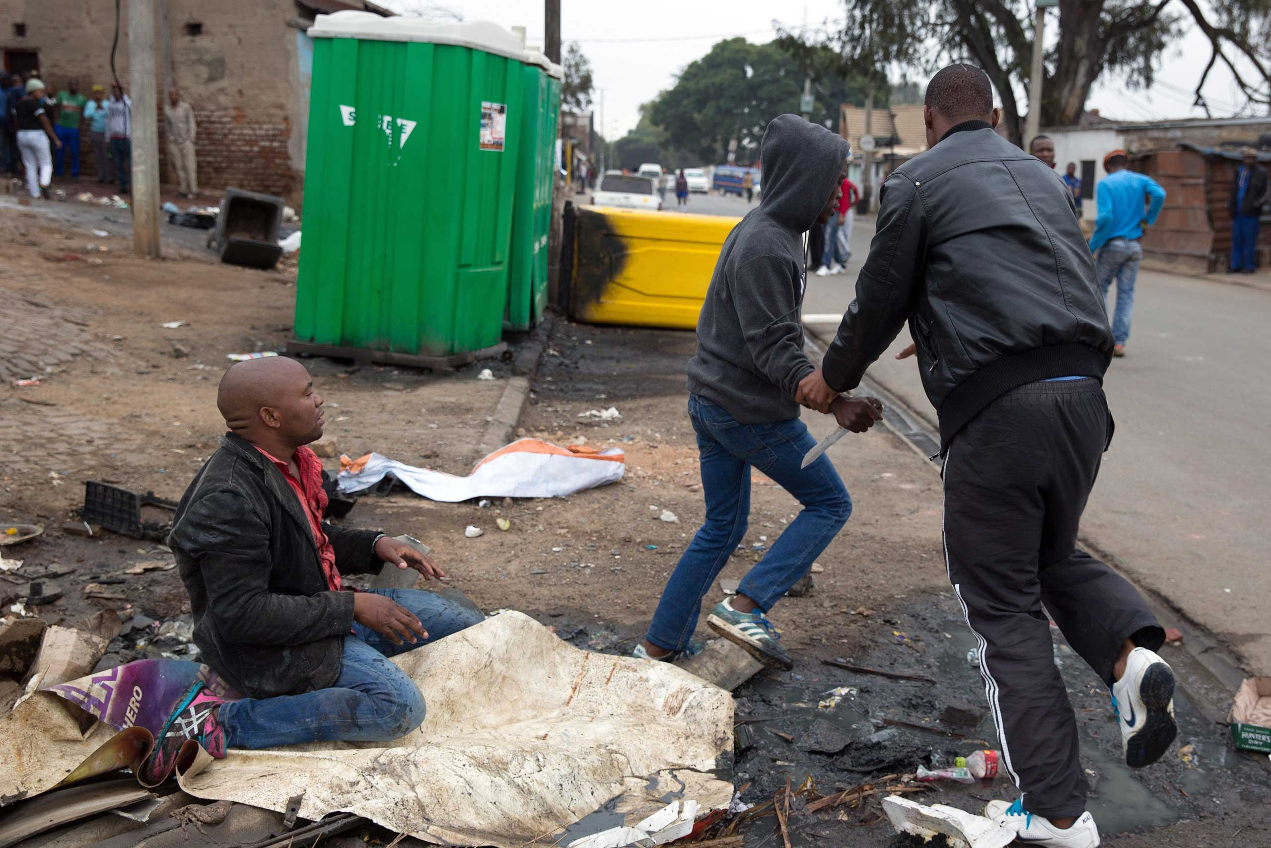 Sithole after being attacked by men in Alexandra township during anti-immigrant violence in Johannesburg on April 18, 2015.