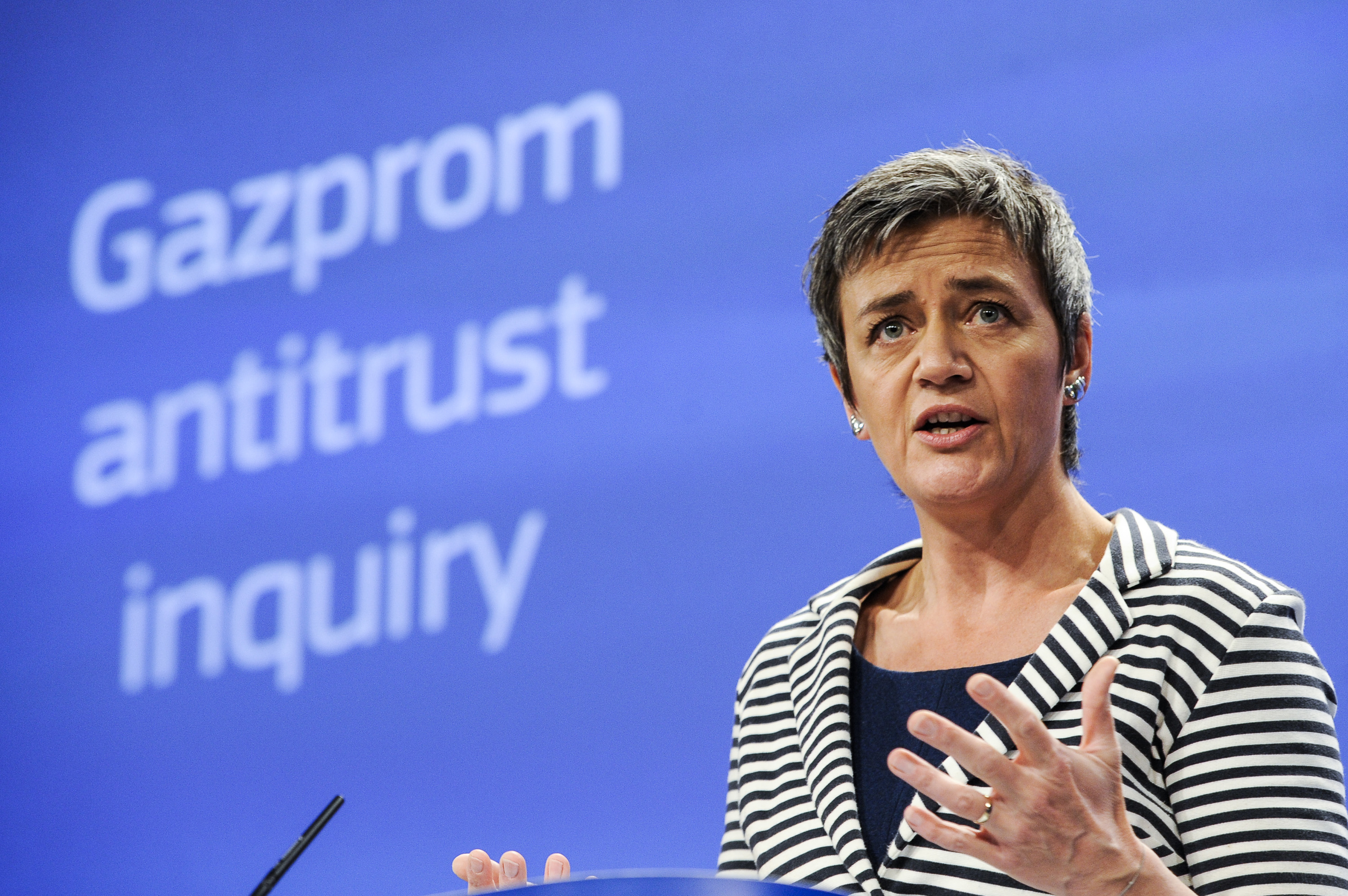 Margrethe Vestager, EU commissioner for Competition announce the Statement of Objection against Gazprom activities in 8 countries during the press conference at European Commission headquarters in Brussels, April 22, 2015.