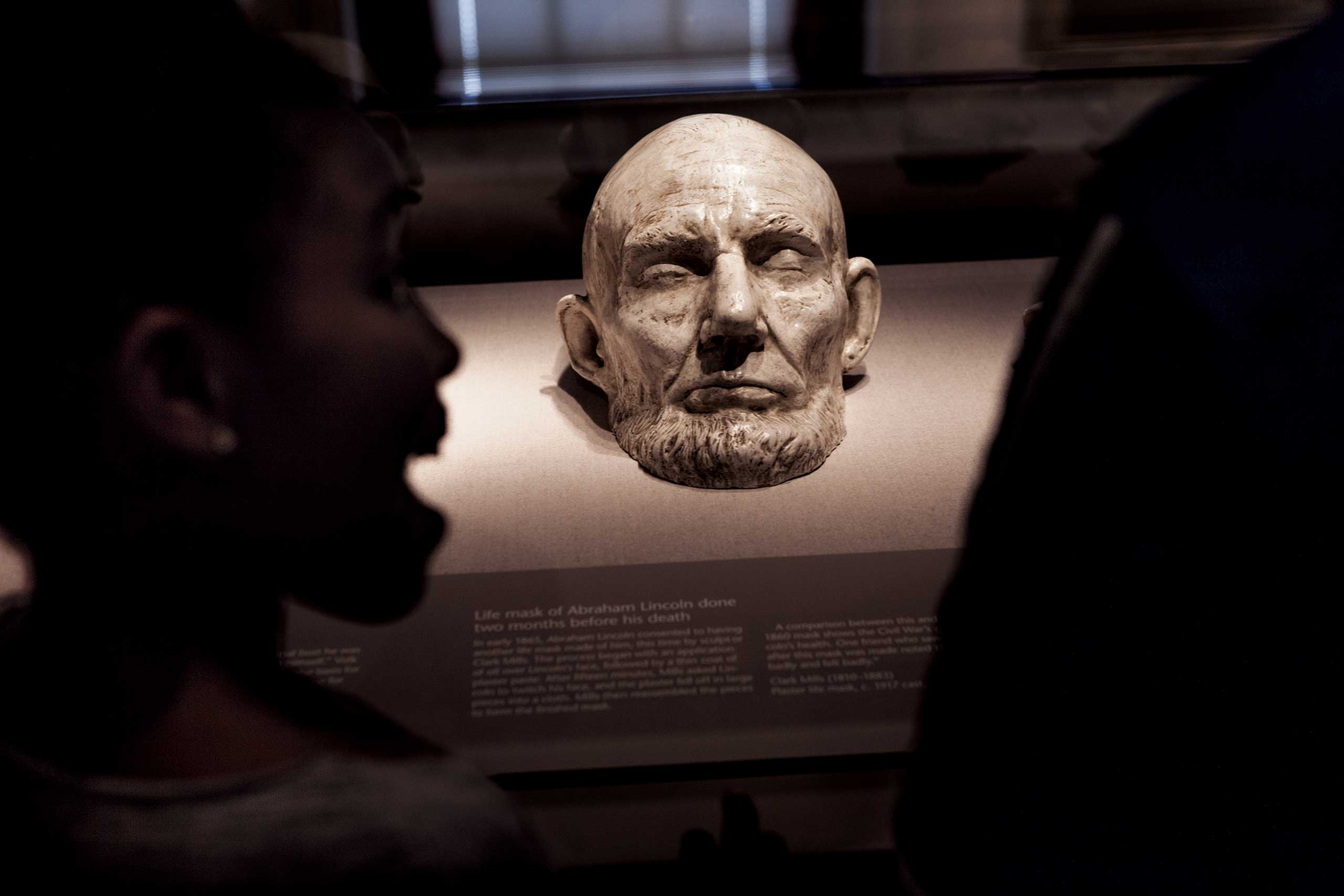 From the April issue of National Geographic magazine: Lincoln                                Children in Washington, D.C., view a plaster cast of a life mask of Lincoln's face, made nine weeks before his death in April 1865.