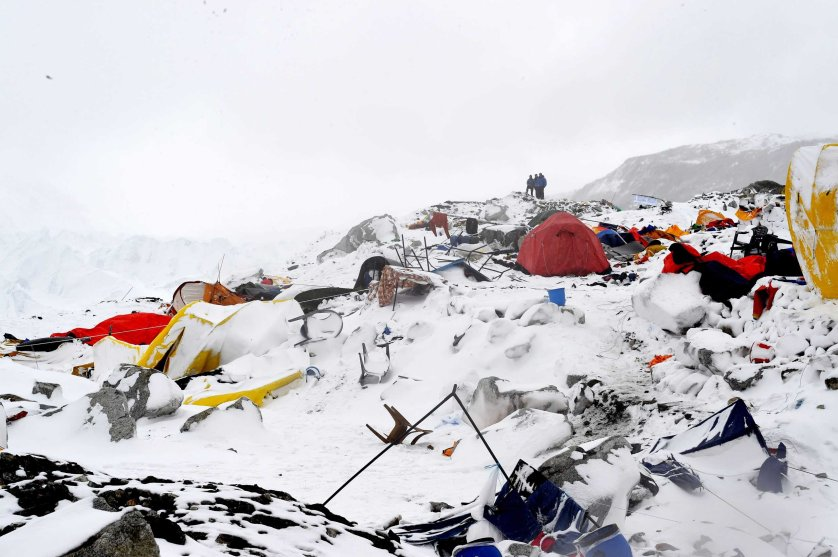 The avalanche, triggered by an earthquake outside Kathmandu, Nepal, flattened parts of Everest Base Camp on April, 25, 2015.