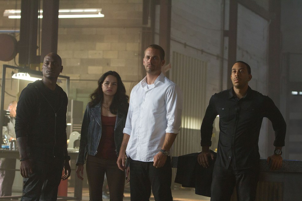 From left: Tyrese Gibson, Jordana Brewster, Paul Walker, Ludacris in Furious 7