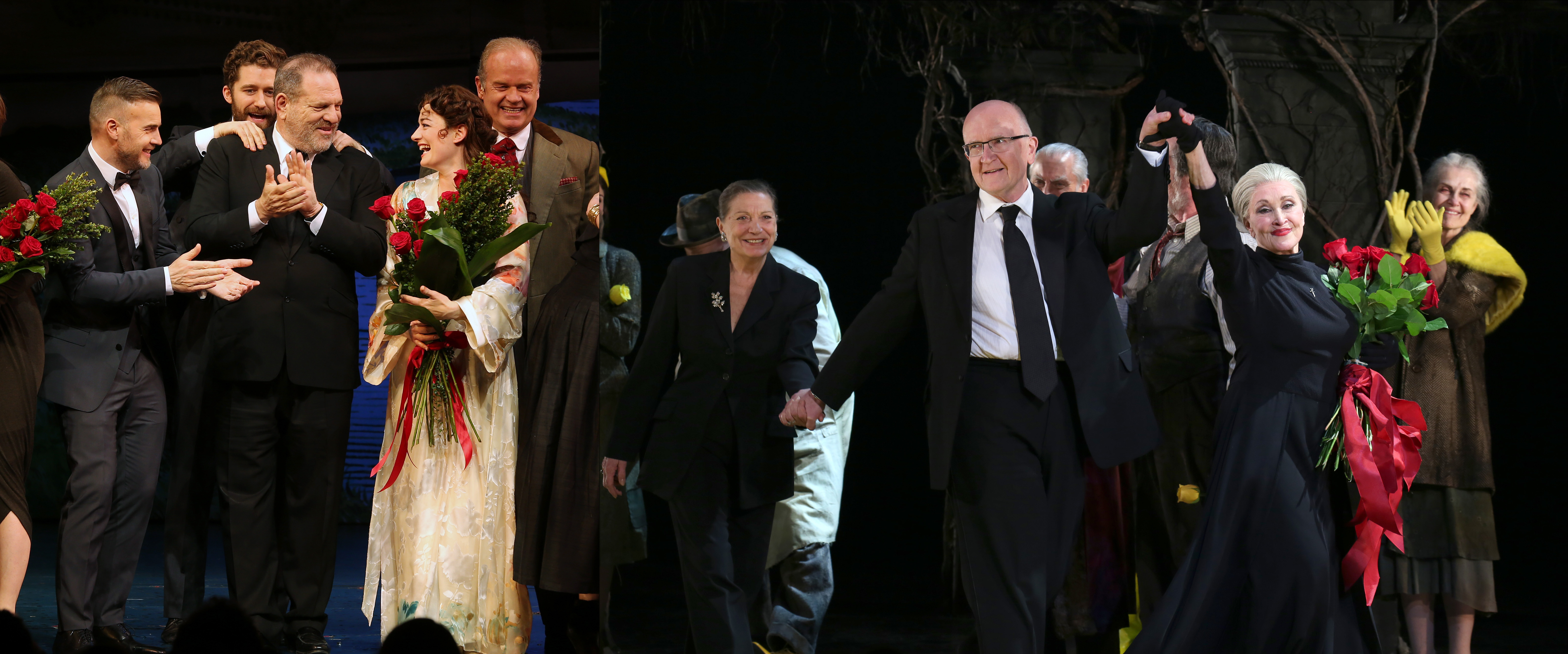 Left: The cast of Finding Neverland takes a bow on April 15, 2015 in New York City. Right: The cast of The Visit takes a bow on April 23, 2015 in New York City.