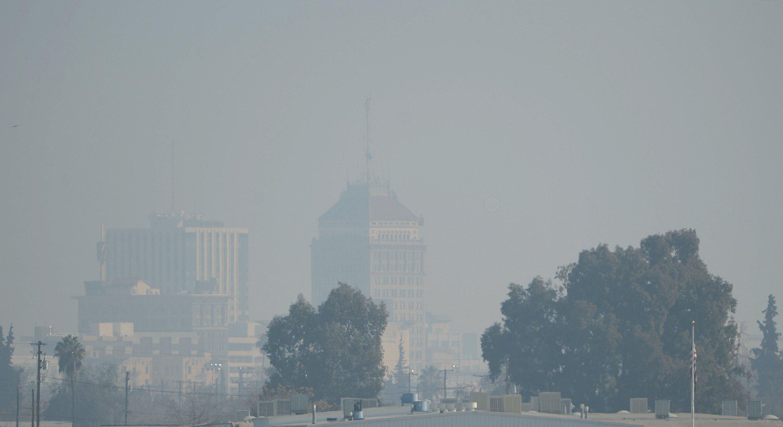 The downtown Fresno skyline with heavy haze