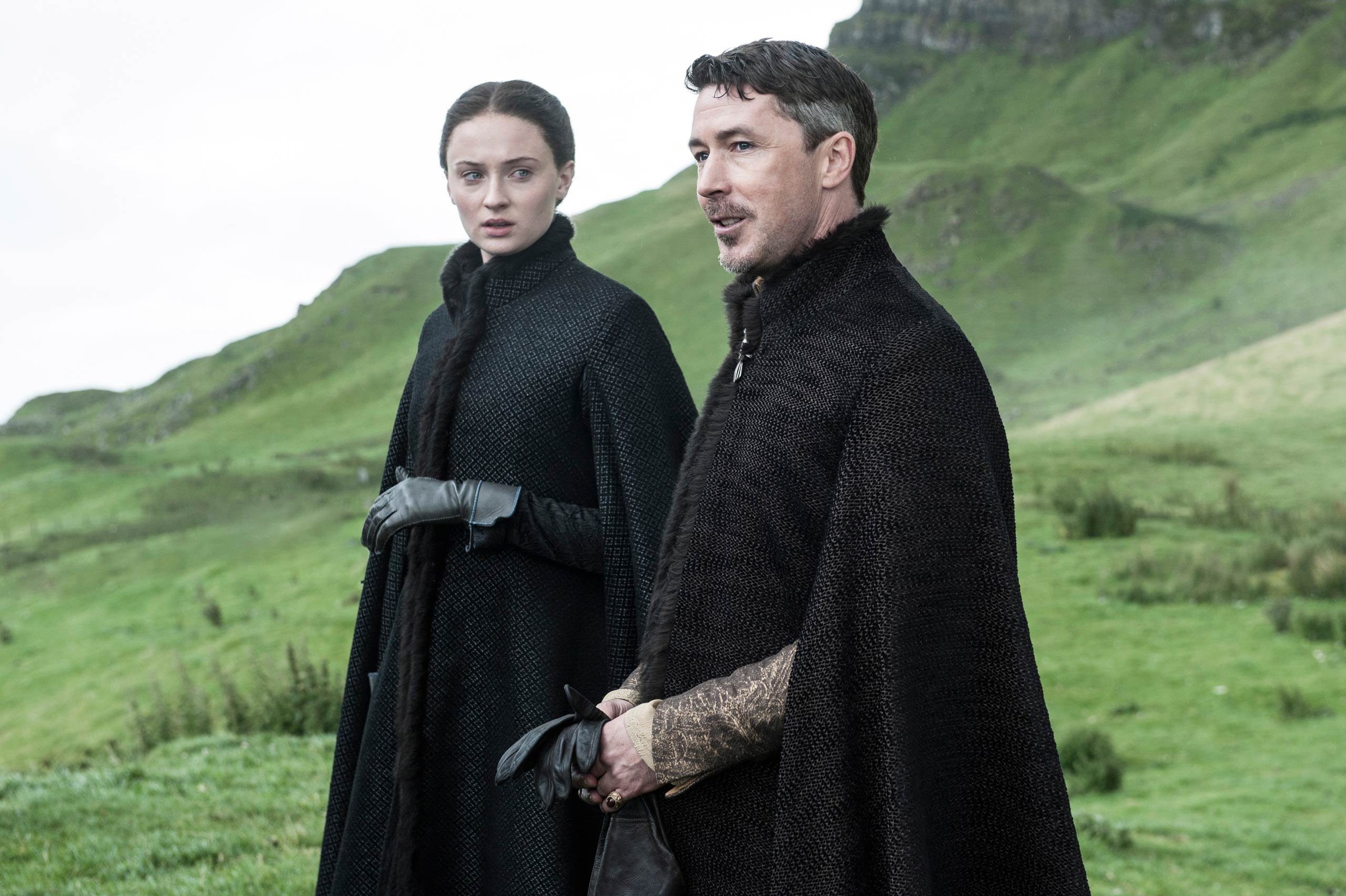 Sophie Turner as Sansa Stark and Aidan Gillen as Littlefinger.