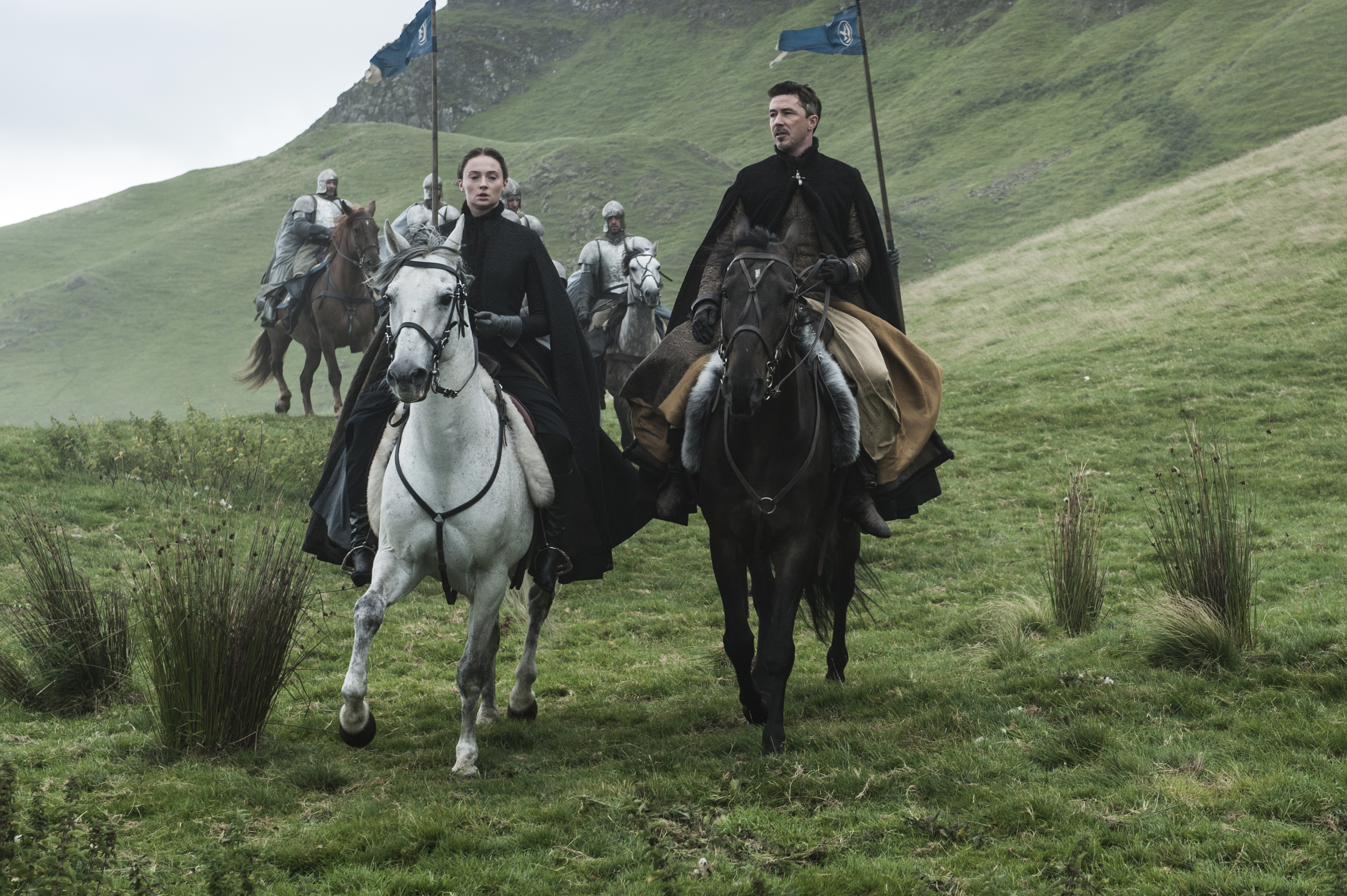 Sophie Turner and Aidan Gillen on Game of Thrones