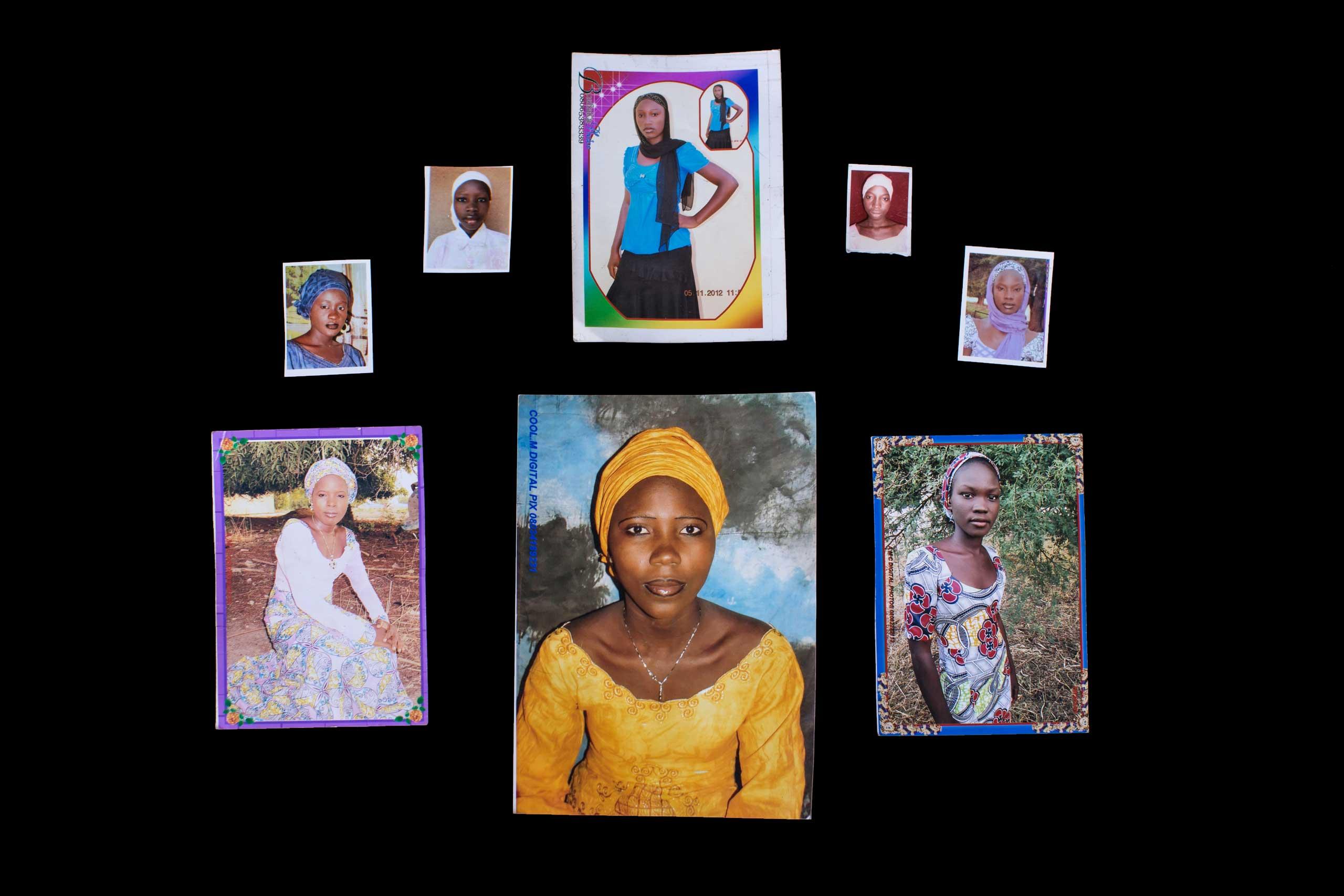 Photos of kidnapped Chibok girls, provided by their families. Top row left, to right: Yana Pogu, Rhoda Peters, Saratu Ayuba, Comfort, Bullus, Dorcas Yakubu. Bottom row, left to right: Hauwa Mutah, Hajara Isa, Rivkatu Ngalang.