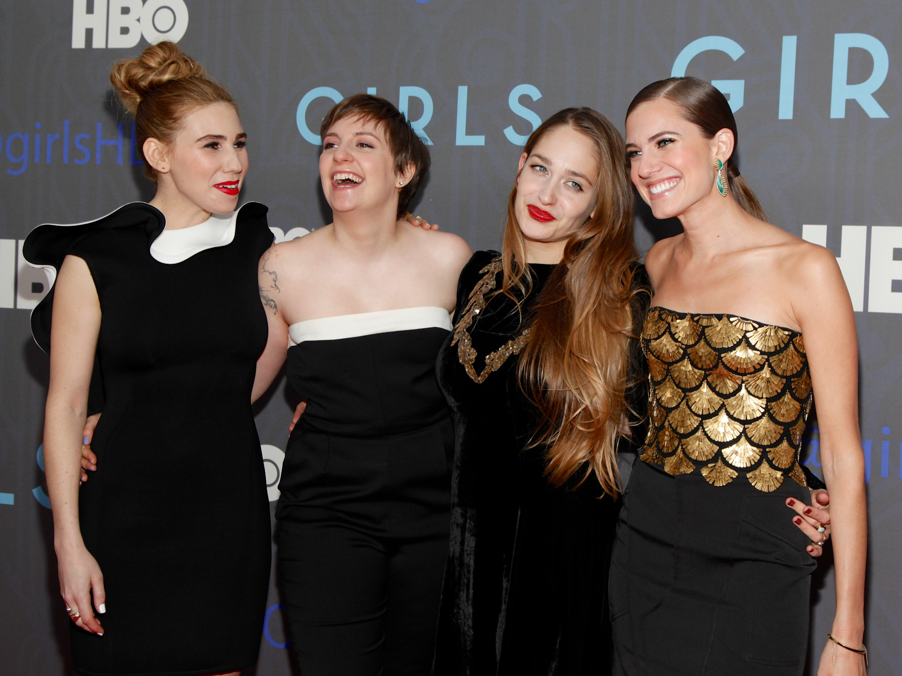 Actresses Zosia Mamet, Jemima Kirke, Allison Williams and creator Lena Dunham attend HBO hosts the premiere of  Girls  Season 2 at the NYU Skirball Center on January 9, 2013 in New York City.