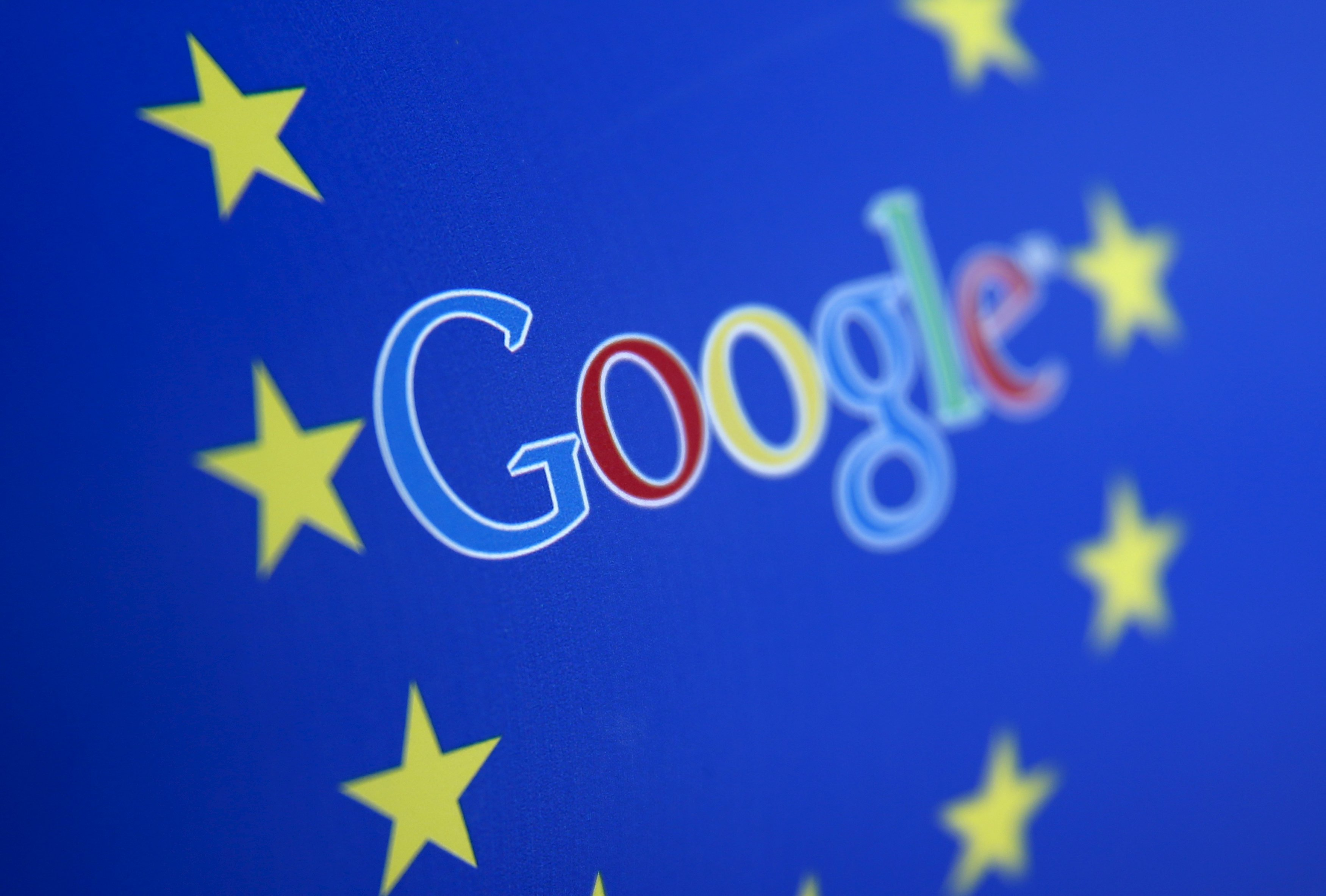 Google and European Union logos are seen in Sarajevo, in this April 15, 2015 photo illustration.