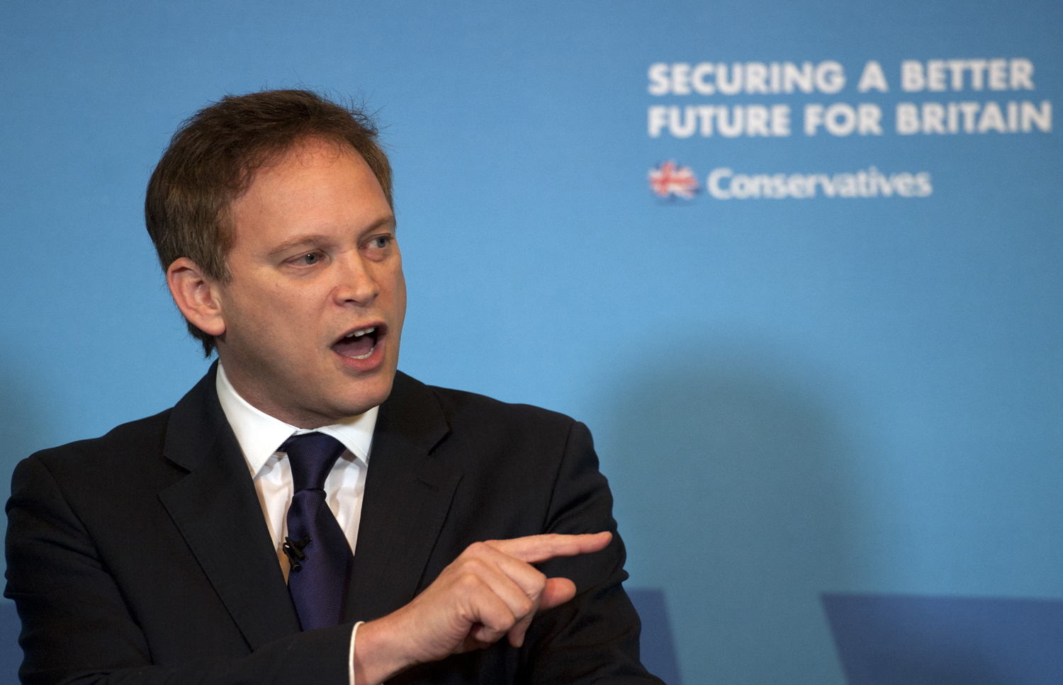 Conservative Party chairman Grant Shapps gives a speech on free trade at the Institute of Directors in London on Feb. 12, 2015