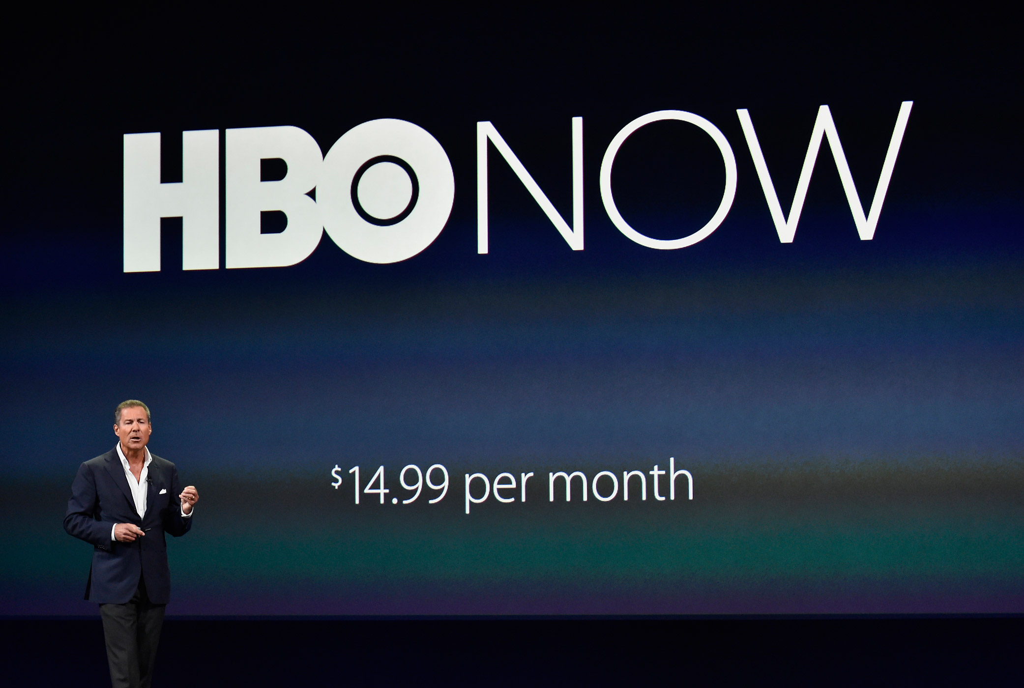 Richard Plepler, CEO of HBO, speaks during the Apple Spring Forward event in San Francisco, Calif. on March 9, 2015.