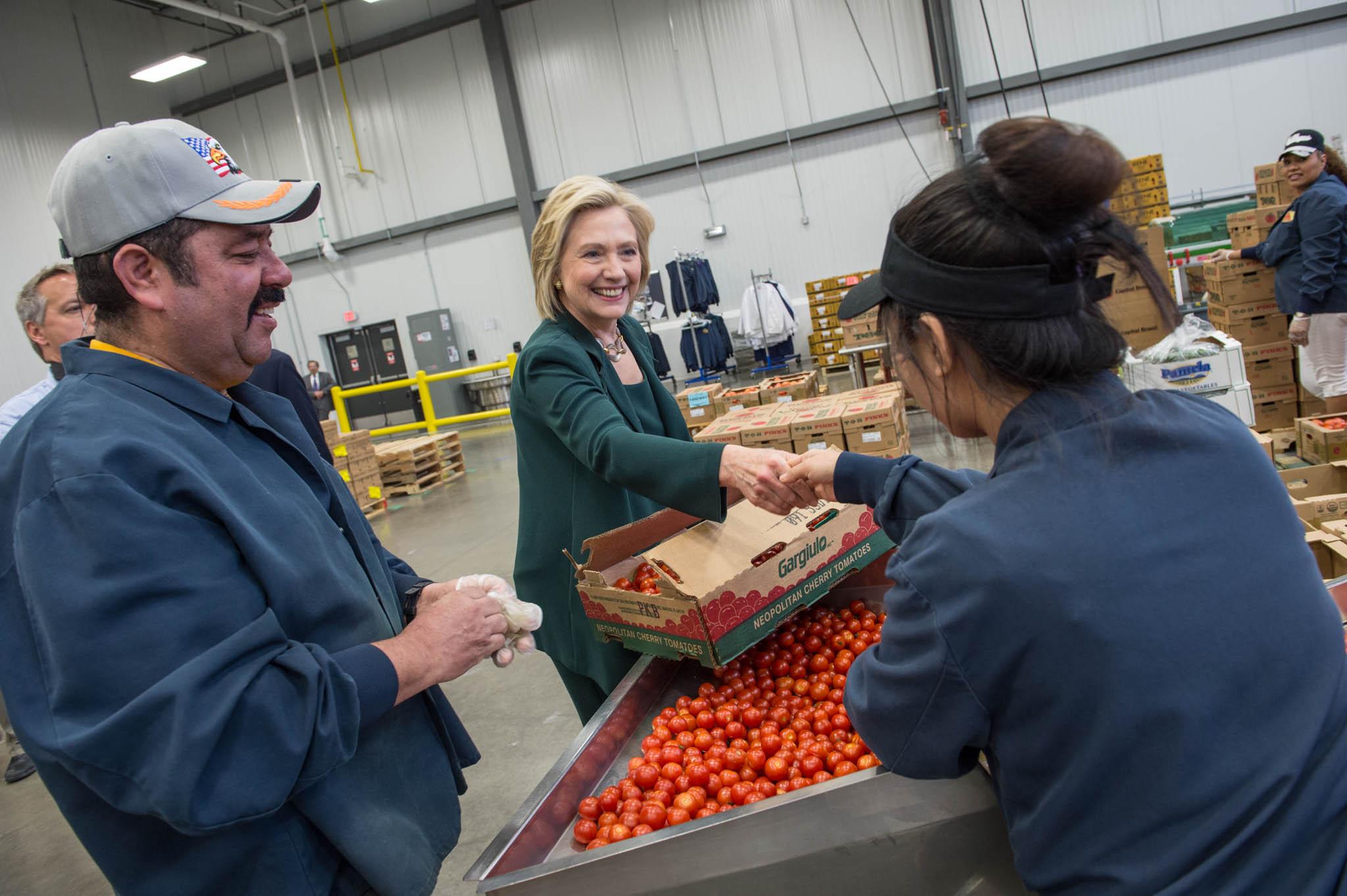 Hillary Clinton visits Capital City Fruit Company in Norwalk, Iowa. April 15, 2015.