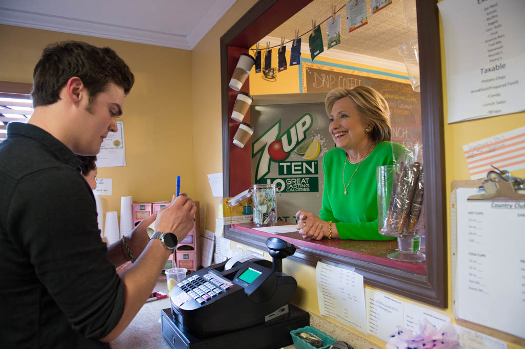 Hillary Clinton visits  Jones Street Java House in Le Claire, Iowa. April 14, 2015.