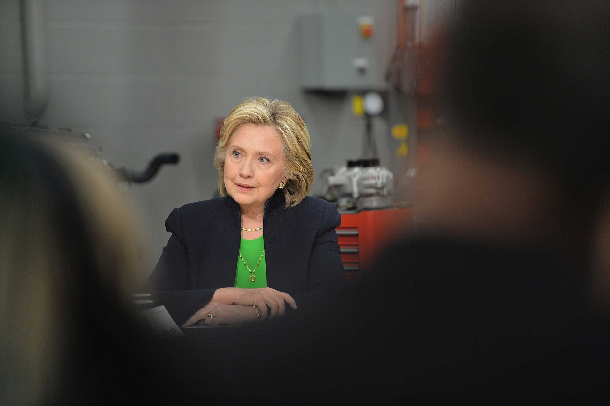 Hillary Rodham Clinton at a campaign event at the Kirkwood Community College in Monticello, Iowa, on Apr. 14, 2015.