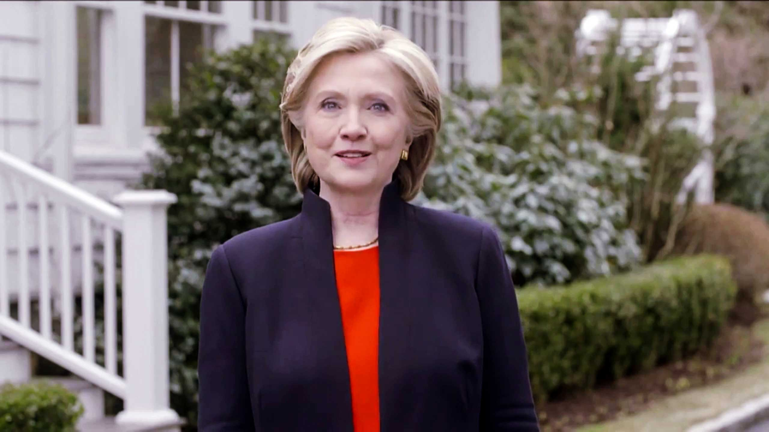 Video still of Hillary Rodham Clinton announcing that she will seek the presidency for a second time, immediately establishing herself as the likely 2016 Democratic nominee on April 12, 2015.