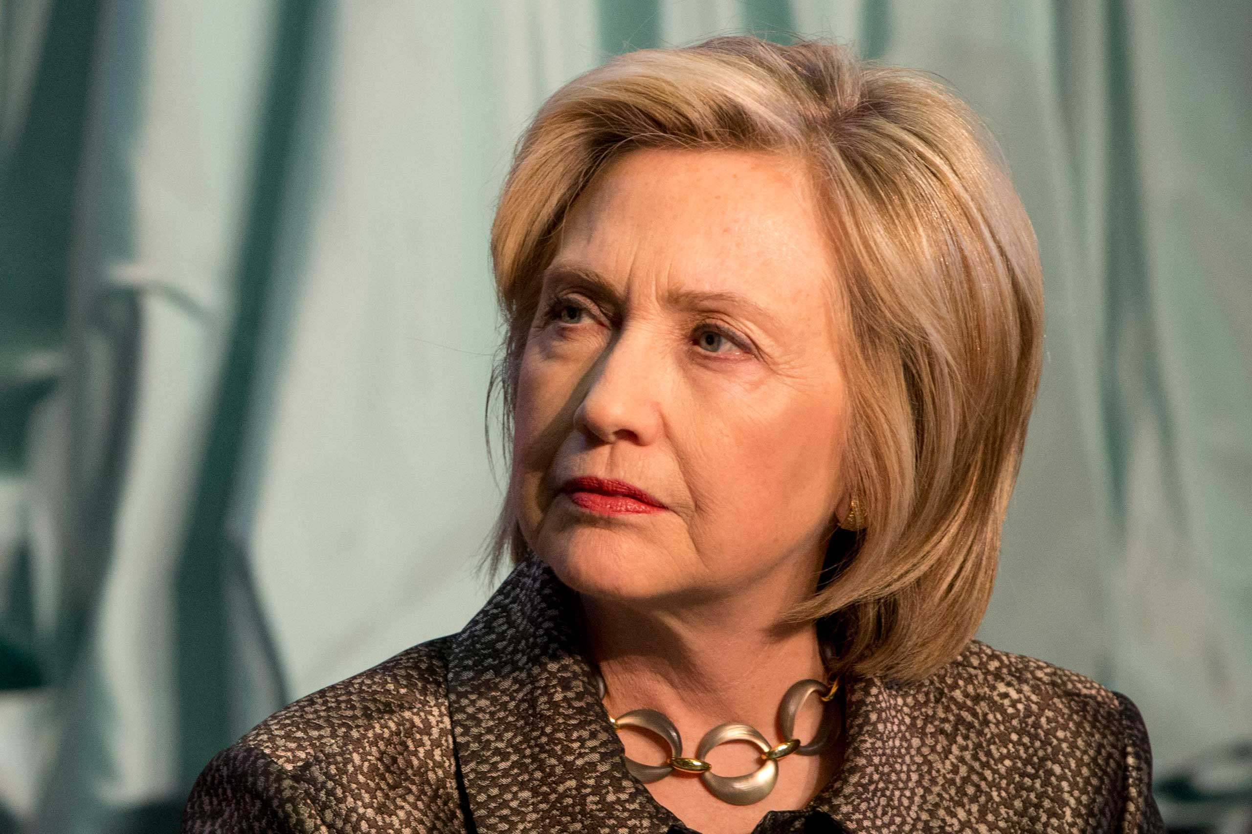 Democratic presidential candidate Hillary Rodham Clinton attends The Hillary Rodham Clinton Awards for Advancing Women in Peace and Security, in the Riggs Library at Georgetown University in Washington on Apr. 22, 2015.