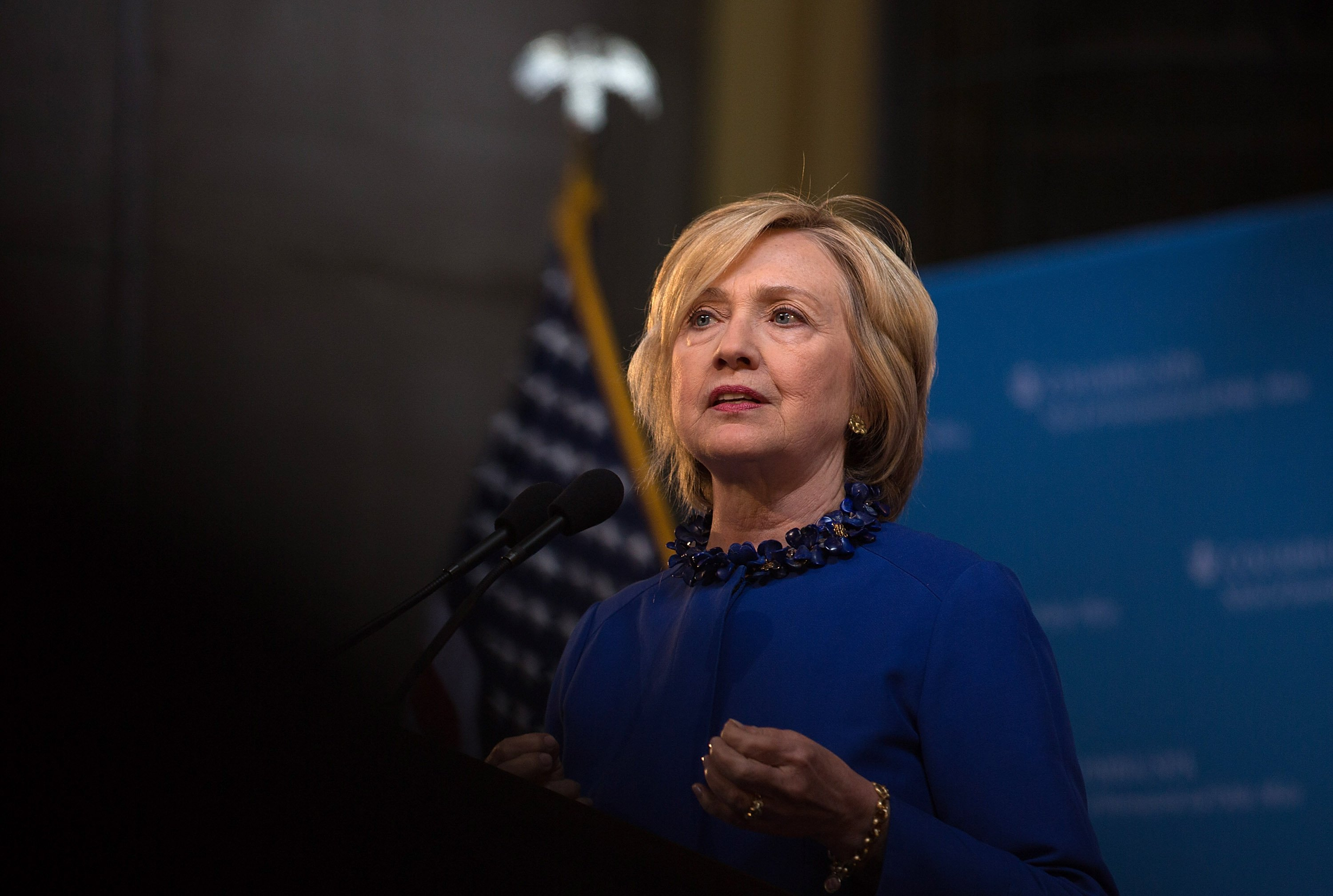 Democratic presidential hopeful and former Secretary of State Hillary Clinton speaks during the David N. Dinkins Leadership and Public Policy Forum at Columbia University on April 29, 2015 in New York City.