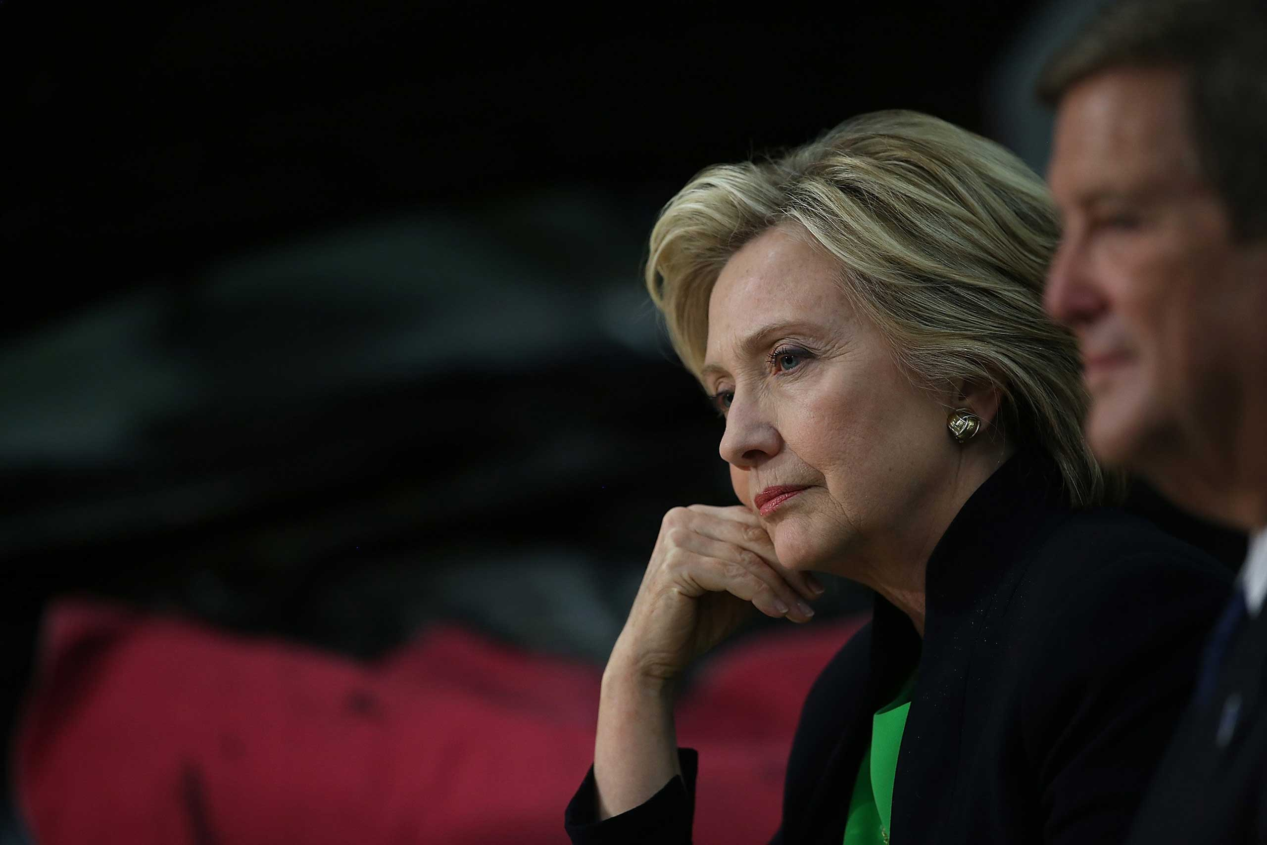 Democratic presidential hopeful and former Secretary of State Hillary Clinton looks on during a roundtable discussion with students and educators at the Kirkwood Community College Jones County Regional Center in Monticello, Iowa, on Apr. 14, 2015.