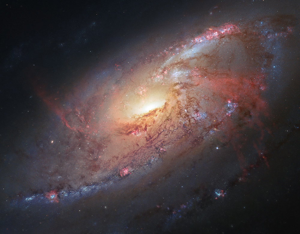 <strong>Galaxy M106</strong>:                                                                      Renowned astrophotographer Robert Gendler took science data from the Hubble Space Telescope (HST) archive and combined it with his own ground-based observations to assemble this photo illustration of the magnificent spiral galaxy M106. Also known as NGC 4258, M106 lies 23.5 million light-years away, in the constellation Canes Venatici.                                                                      <i>Image released on Feb. 5, 2013</i>