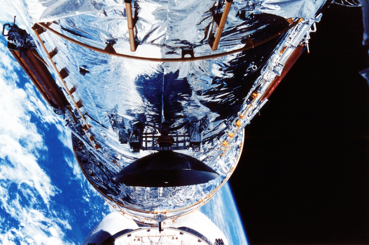 The Hubble Space Telescope orbiting the Earth
