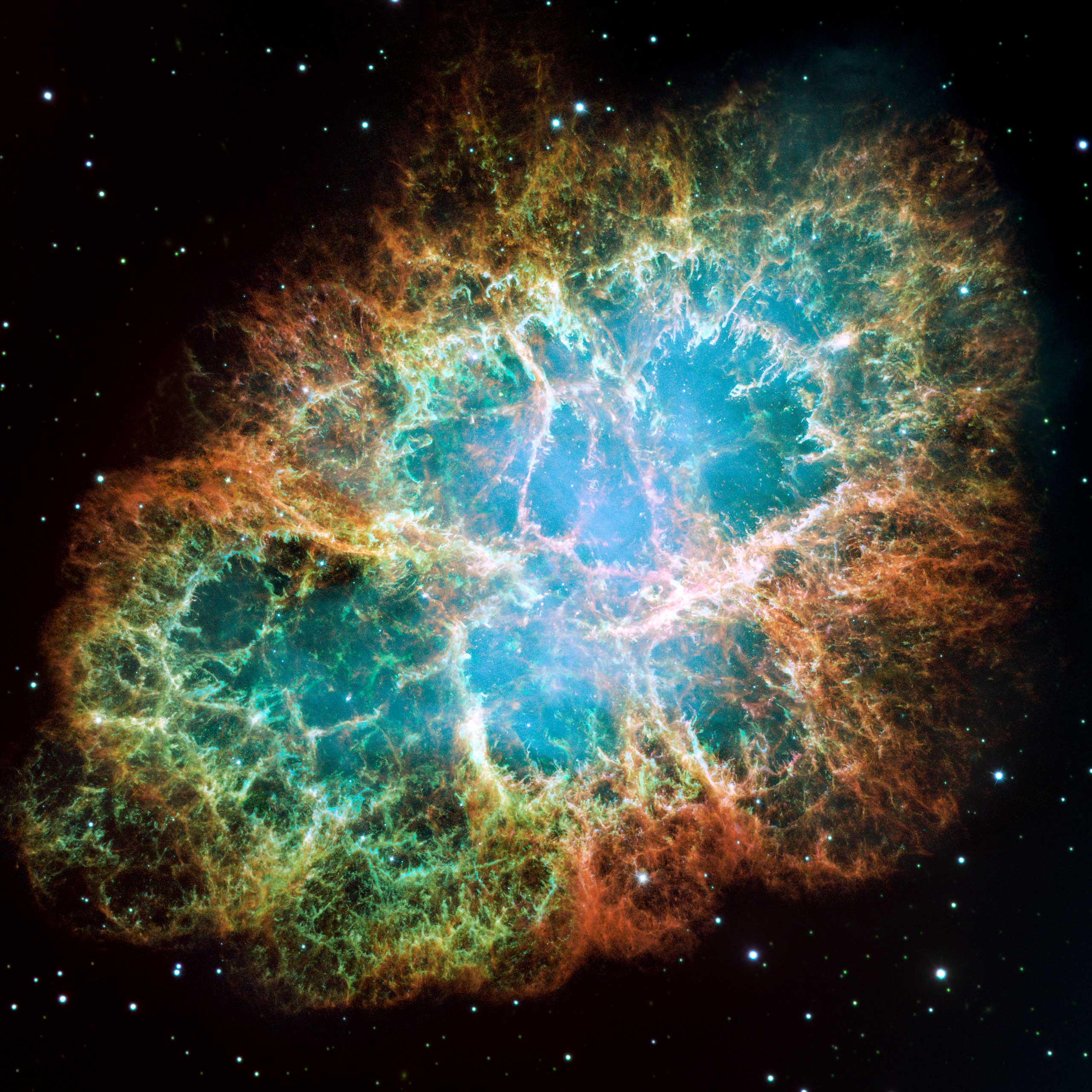 The Crab Nebula :                                                              A six-light-year-wide expanding remnant of a star's supernova explosion. This composite image was assembled from 24 individual exposures taken with the NASA Hubble Space Telescope's Wide Field. It is one of the largest images taken by Hubble and is the highest resolution image ever made of the entire Crab Nebula.                                                              Image released on Dec. 1, 2005