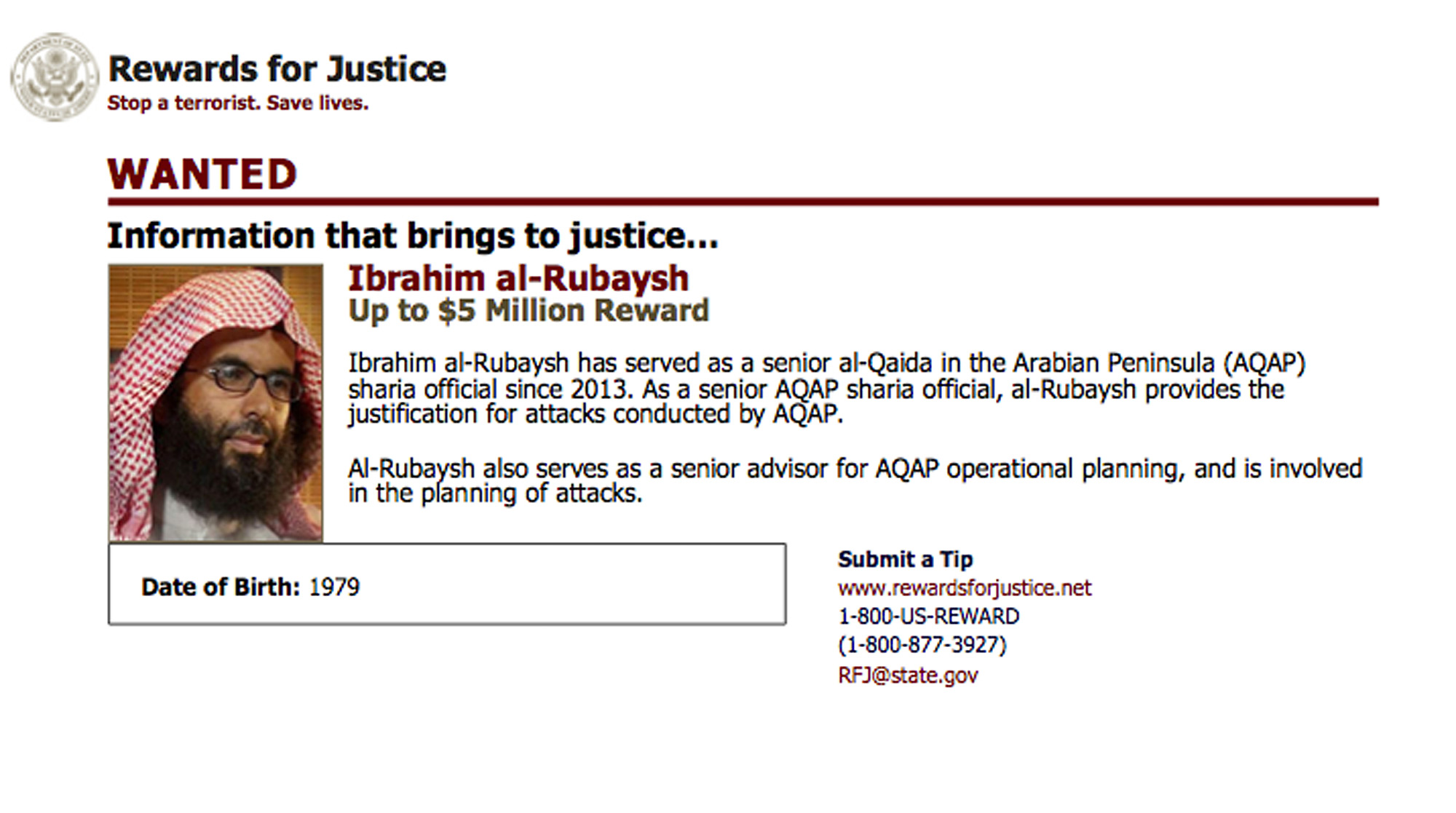 This wanted poster from website of the U.S. State Department's Rewards For Justice program shows a mugshot of Ibrahim al-Rubaish, the top cleric of Yemen's al-Qaida branch.