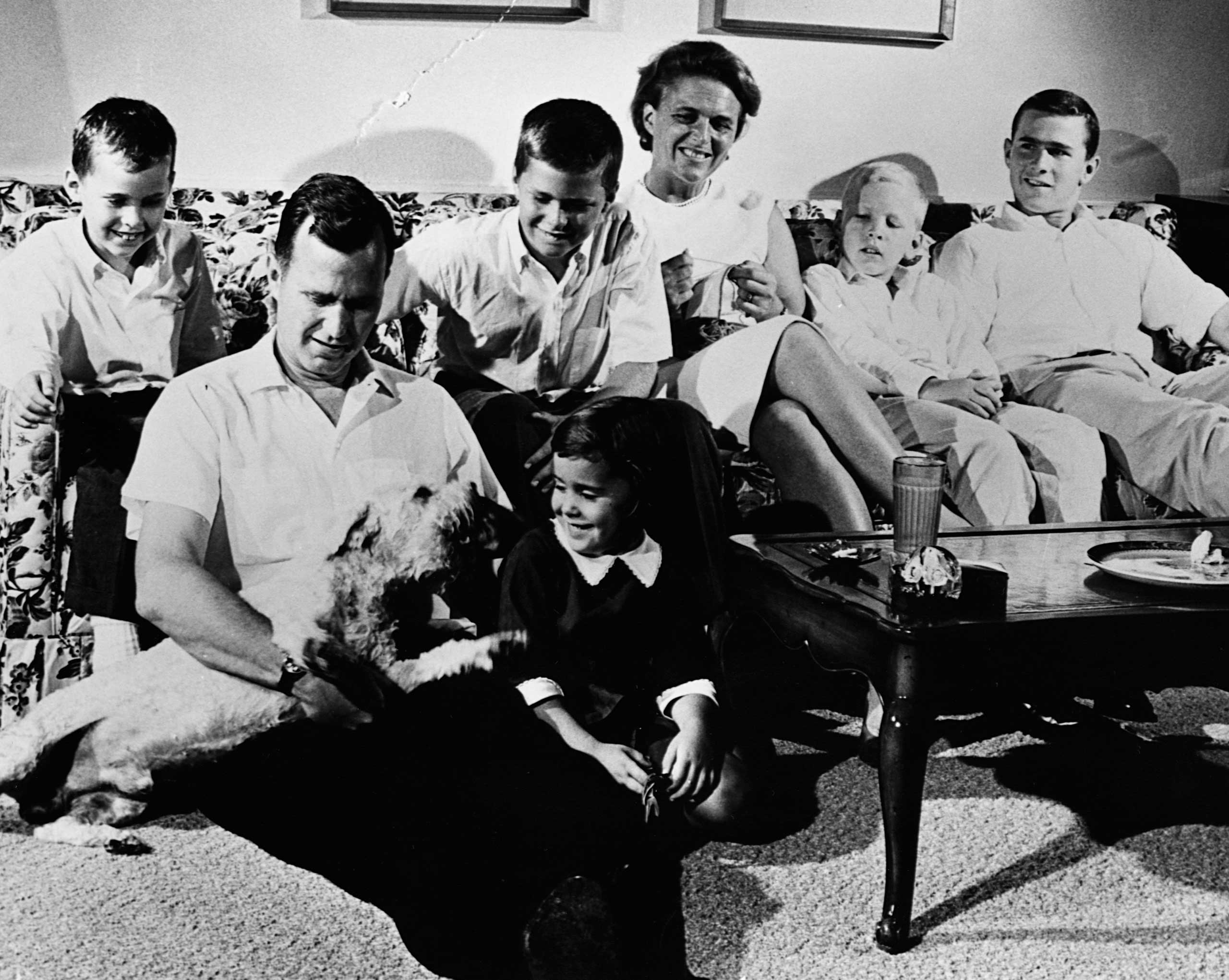 THE BUSH FAMILY: Former President George W. Bush sits at the far right. In this 1964 photo, he is joined by (from left) Marvin, George H.W. Bush, Jeb, Dorothy (on the floor), Barbara and Neil.