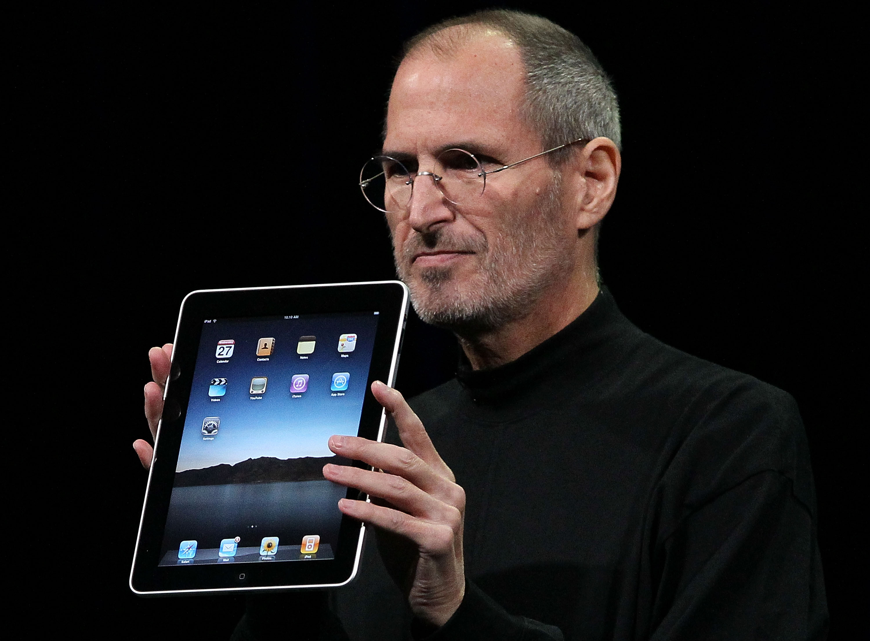 Apple Inc. CEO Steve Jobs holds up the new iPad as he speaks during an Apple Special Event at Yerba Buena Center for the Arts Jan. 27, 2010 in San Francisco, California.