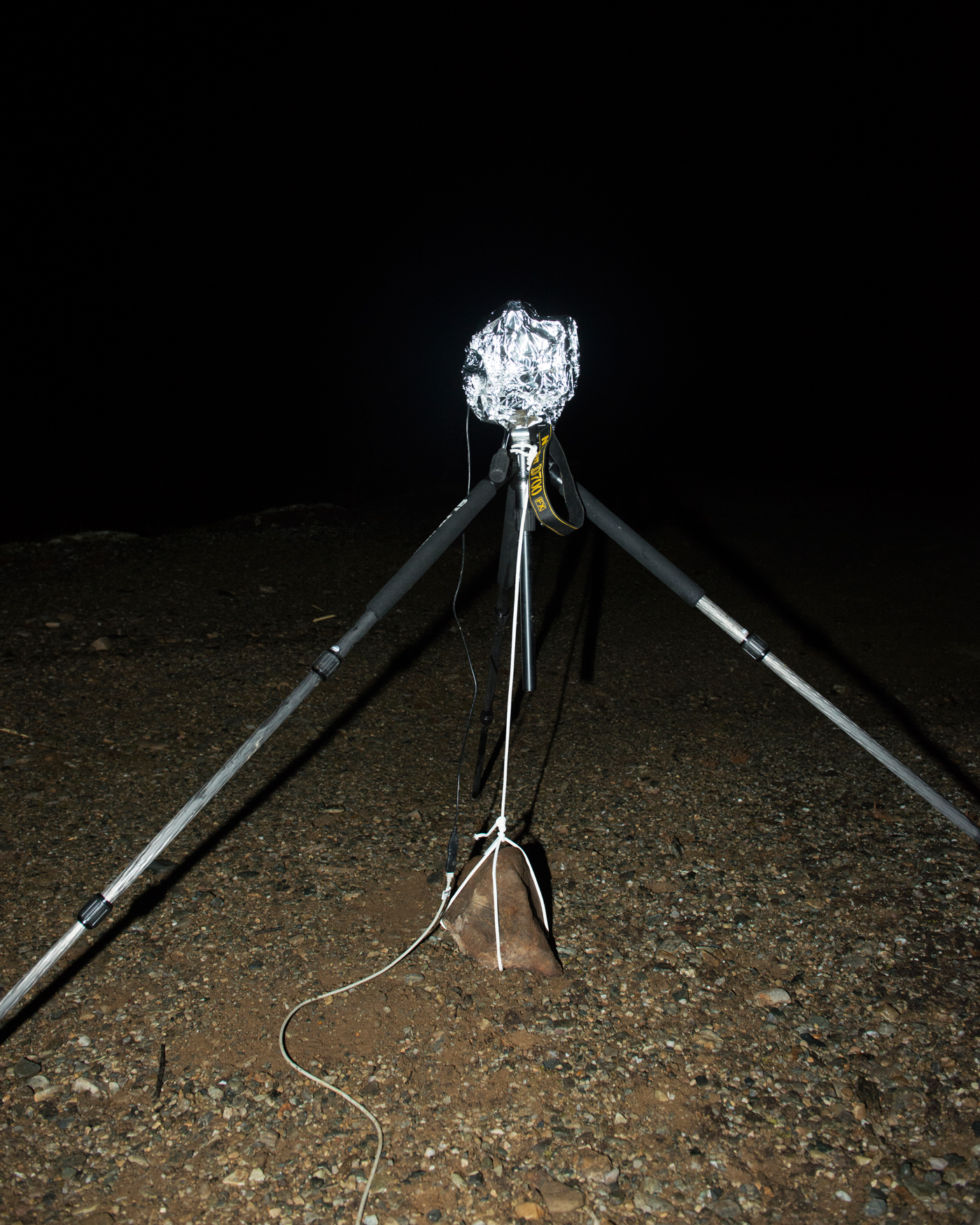 A weather-proofed time-lapse camera at Science Camp 2013 in Hessdalen.