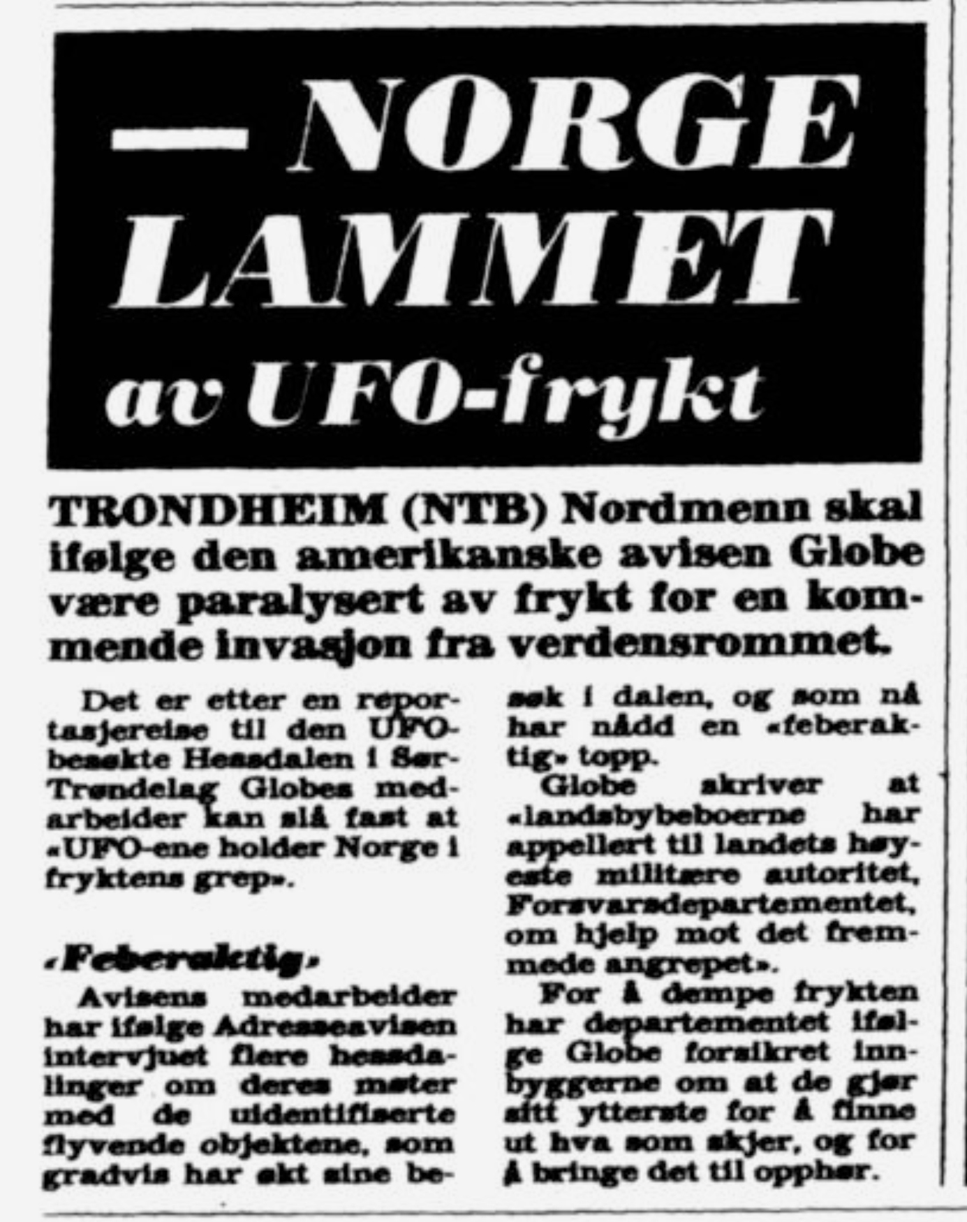 Clipping from VG (Verdens Gang) newspaper, March 22, 1983 which reads,  NORWAY PARALYZED by UFO Fears