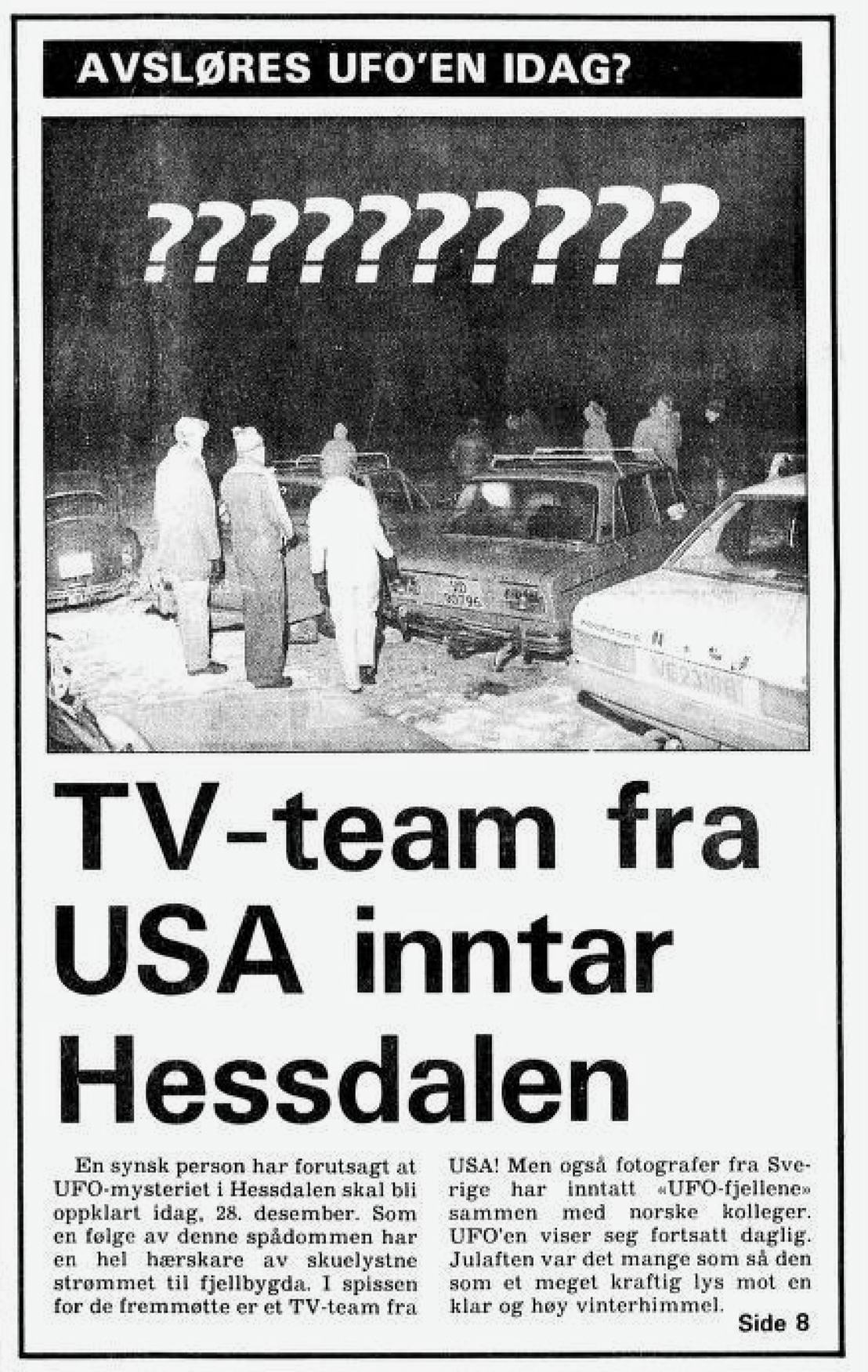 Clipping from Adresseavisen newspaper, December 28, 1982 which reads  TV-crew from the USA in Hessdalen