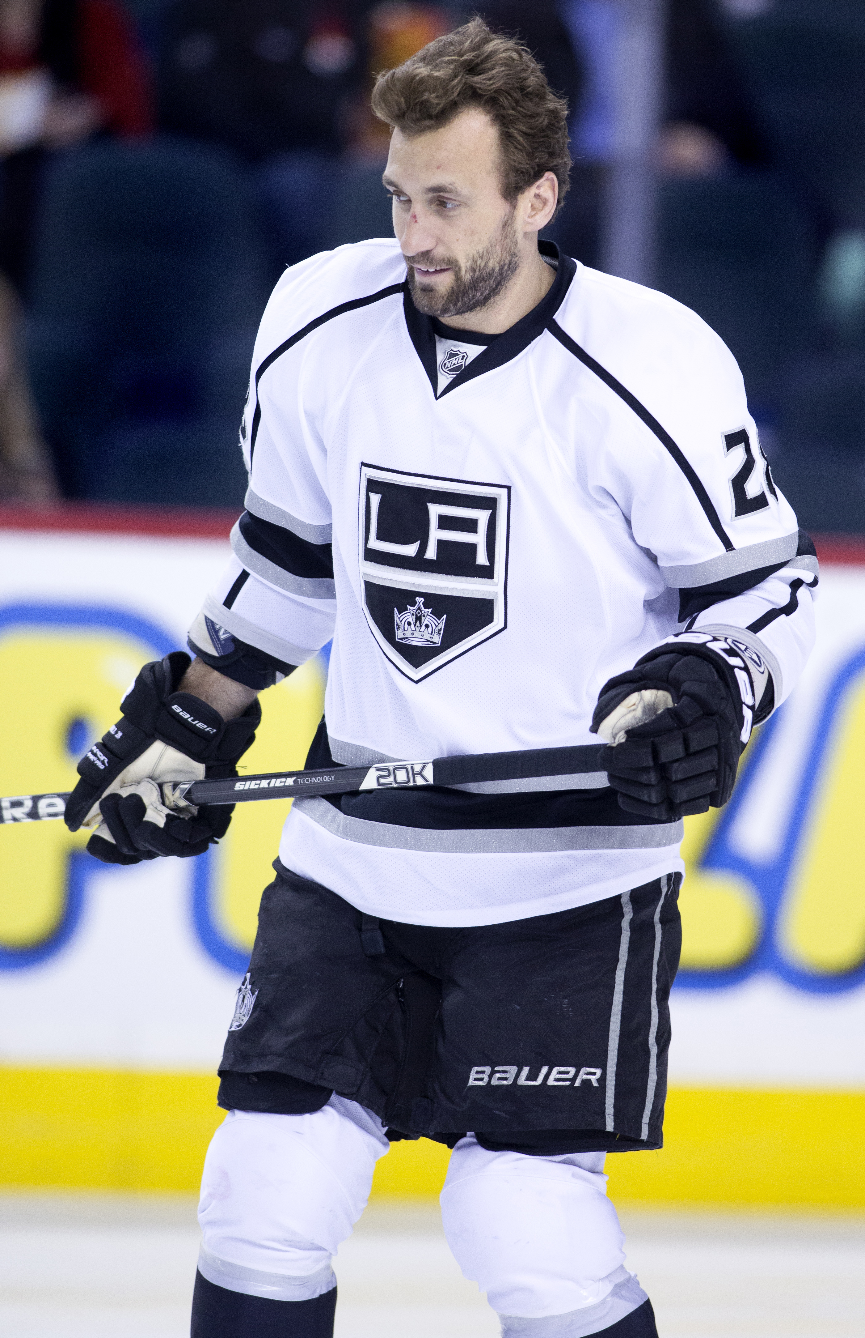 NHL profile photo on Los Angeles Kings' Jarret Stoll during a game against the Calgary Flames in Calgary, Alberta on April 9, 2015.