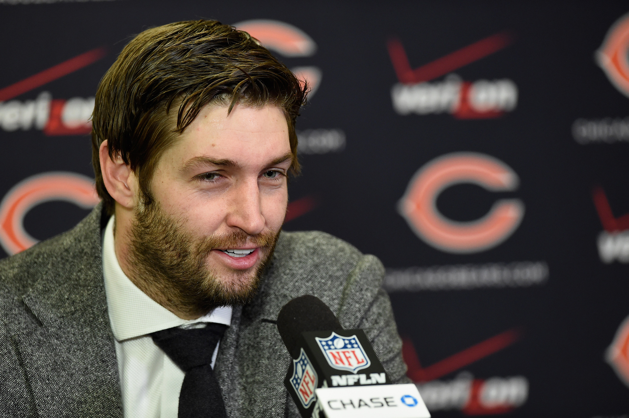 Jay Cutler of the Chicago Bears speaks to the media after the game against the Minnesota Vikings on Dec.28, 2014 at TCF Bank Stadium in Minneapolis, MN.
