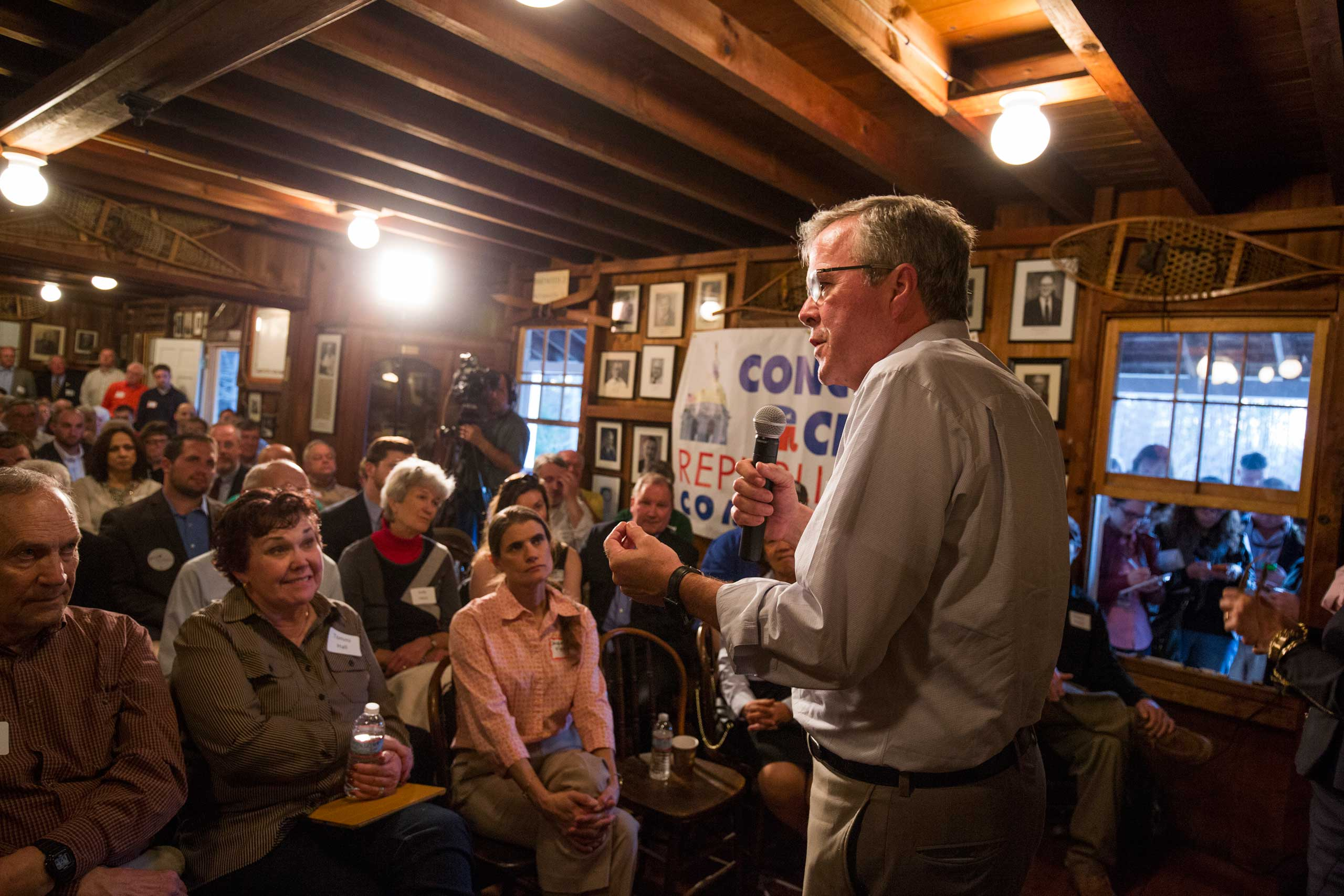 """Jeb Bush speaks at the Concord City Republican Committee's """"Politics and Pies"""" series  at the Concord Snowshoe Club in Concord, N.H. on April 16, 2015."""
